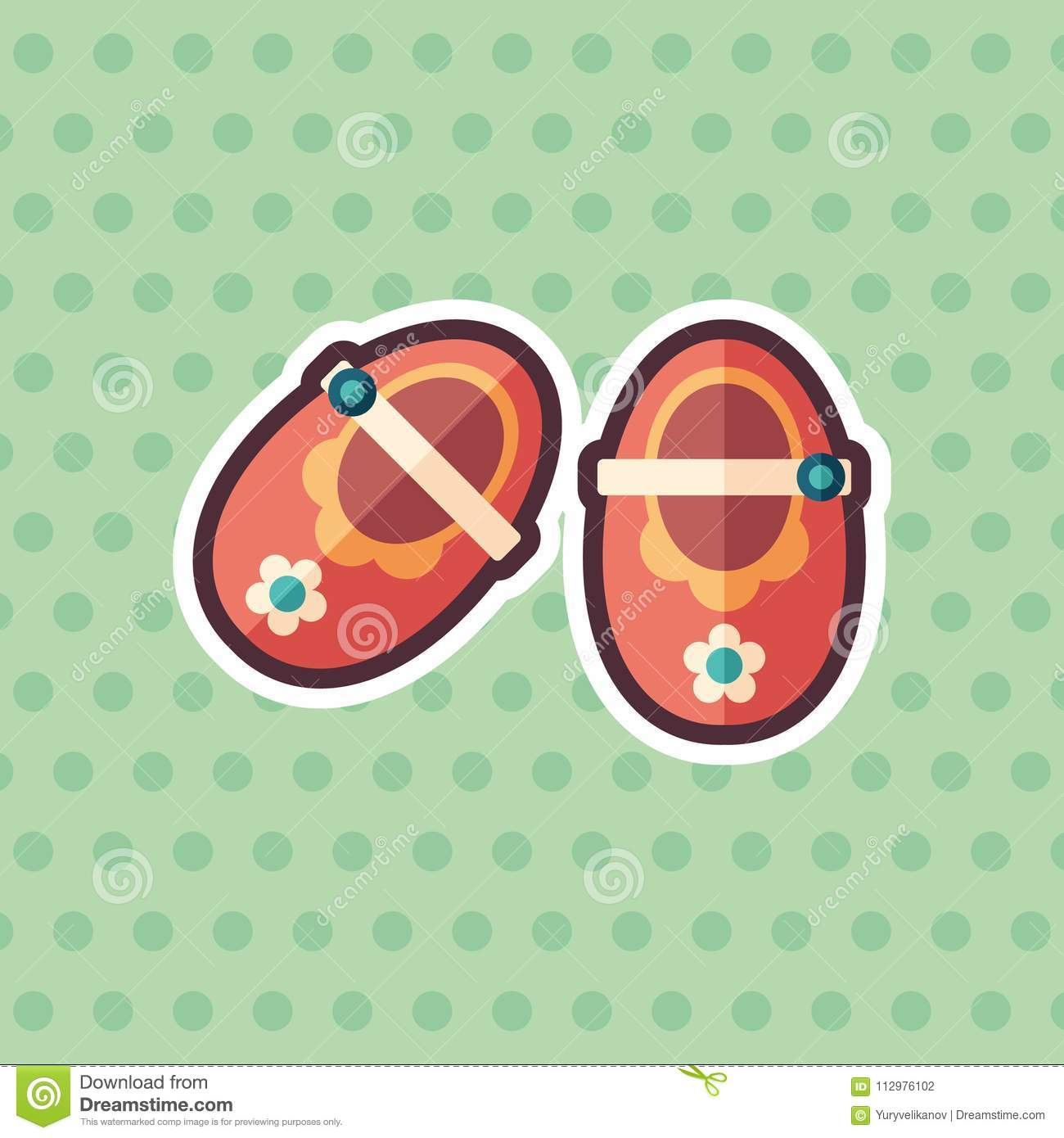 Baby booties sticker flat icon with color background.