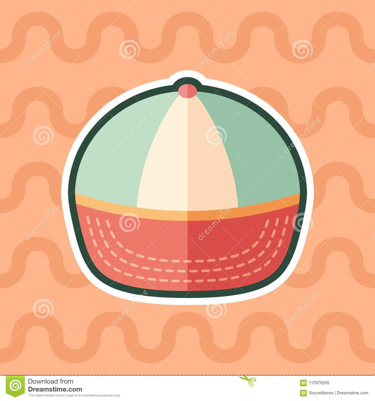 Beach cap sticker flat icon with color background.