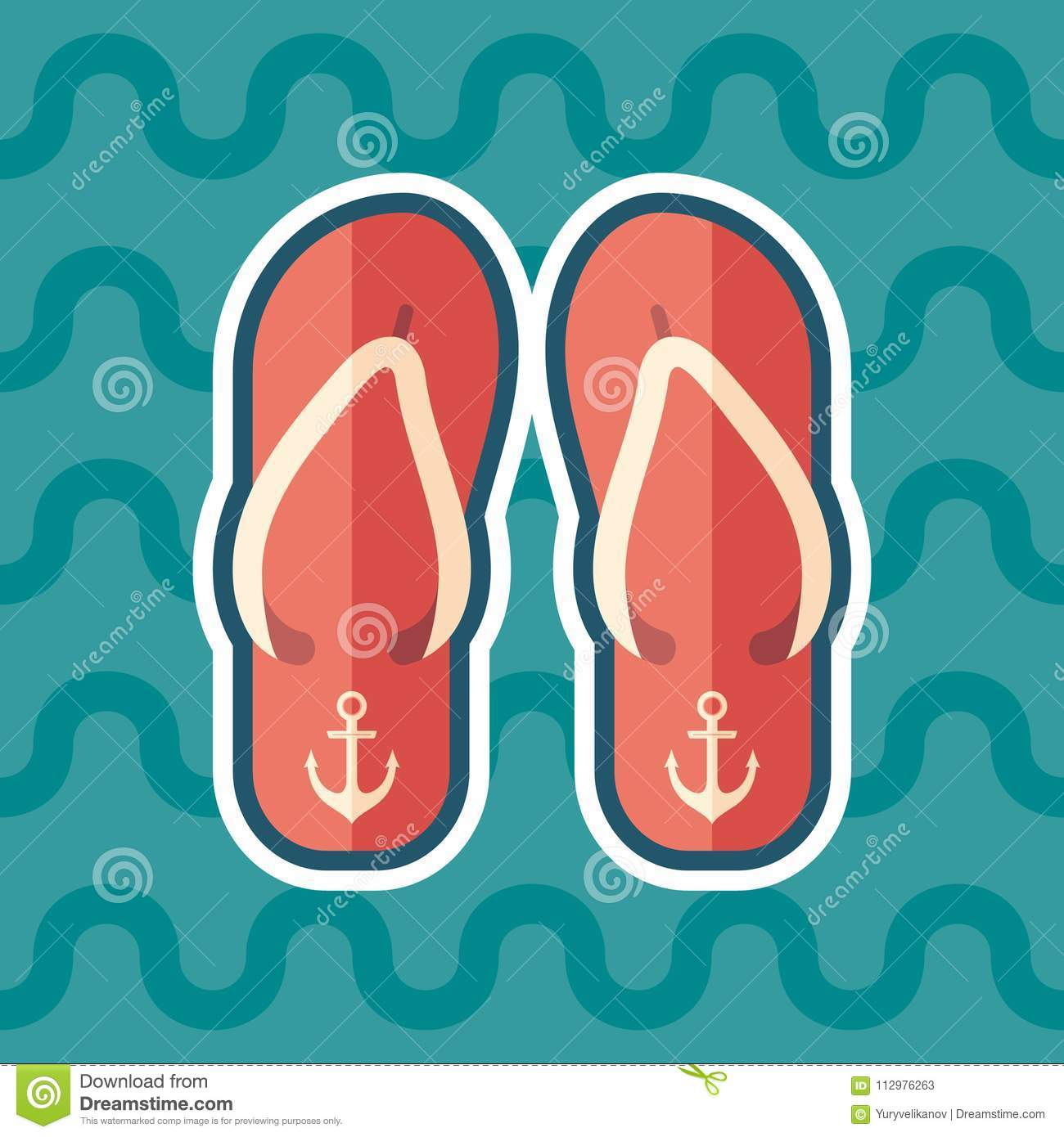f2f7391ccf5b Royalty-Free Vector. Beach slippers sticker flat icon with color background.