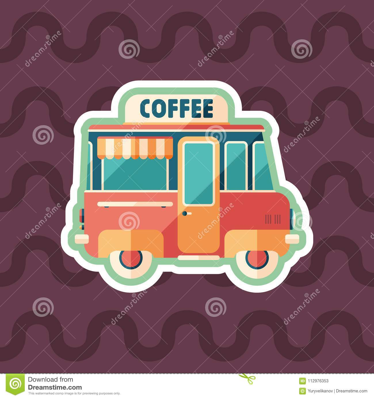 Coffee van sticker flat icon with color background.