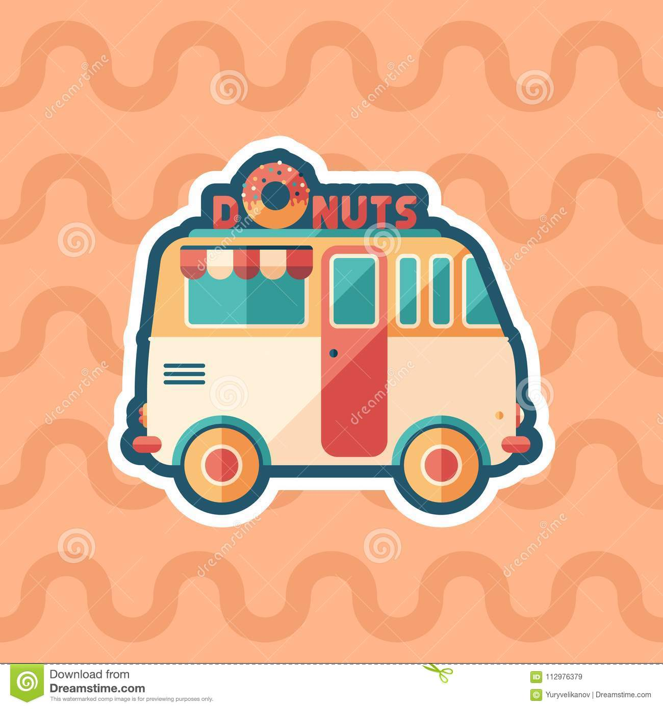 Donuts van sticker flat icon with color background.