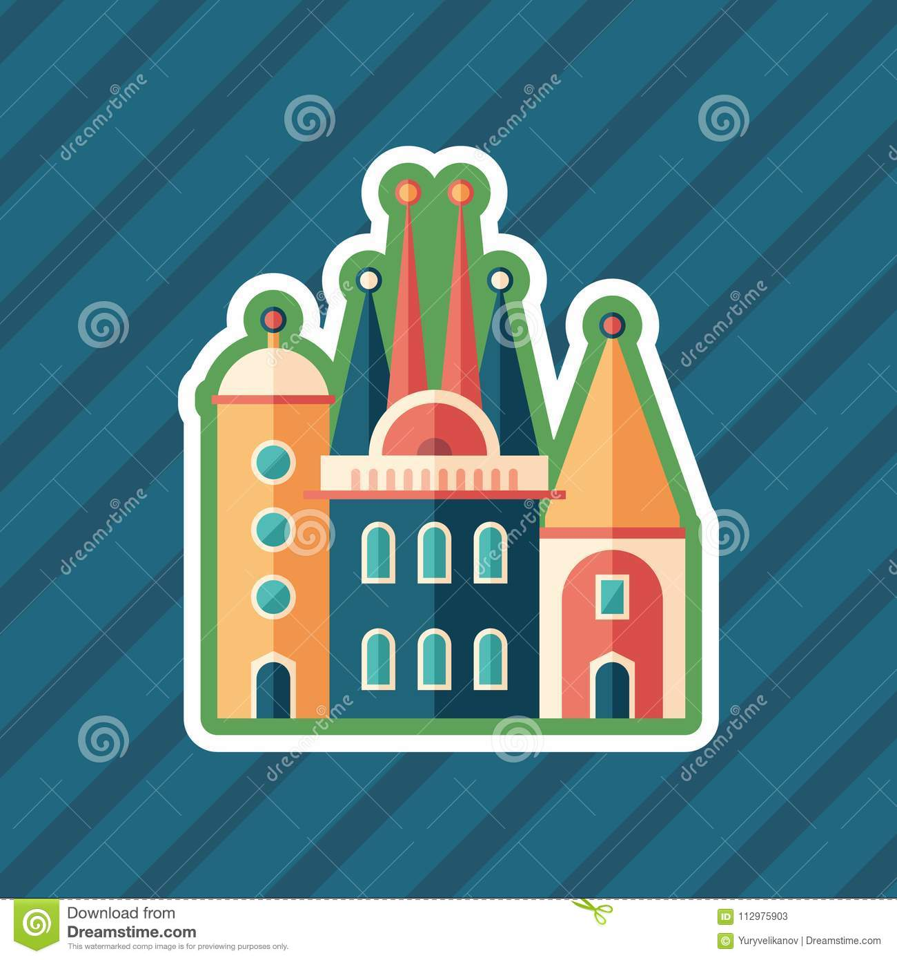 Fairytale castle sticker flat icon with color background.