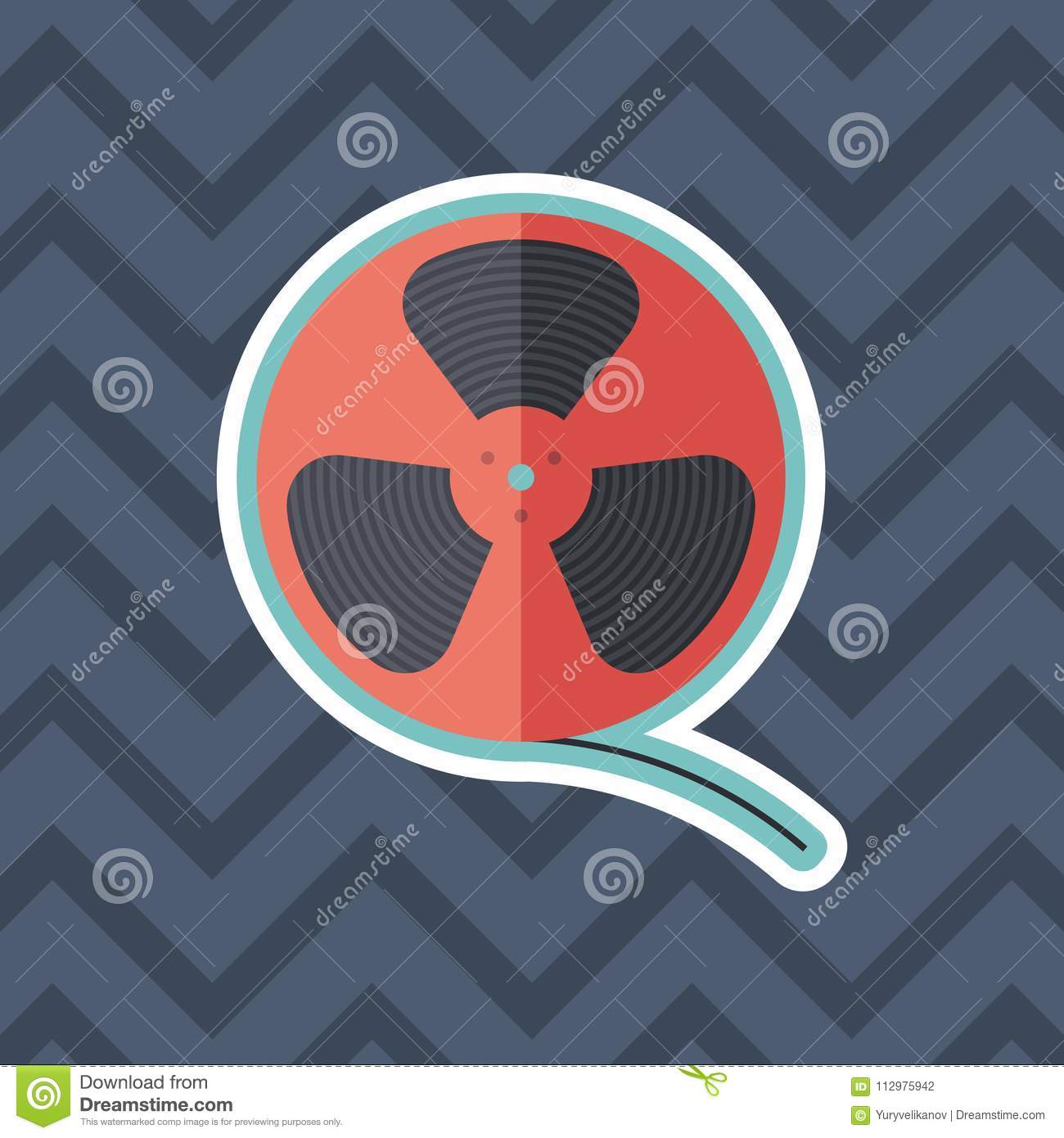 Film reel sticker flat icon with color background.