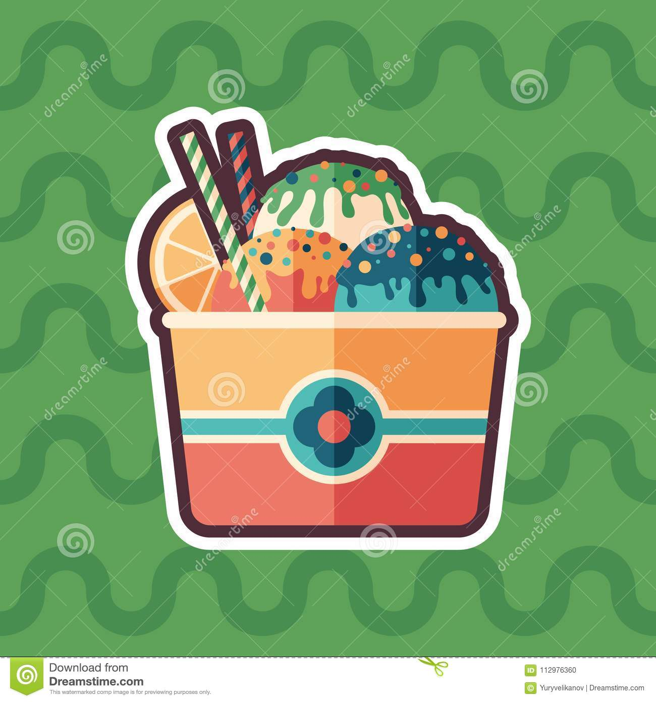 Fruit ice cream sticker flat icon with color background.