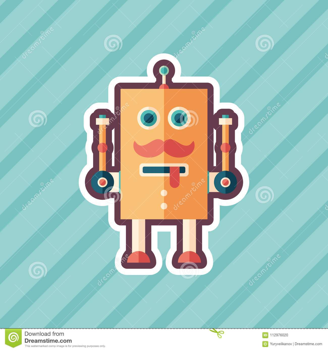 Funny robot sticker flat icon with color background.