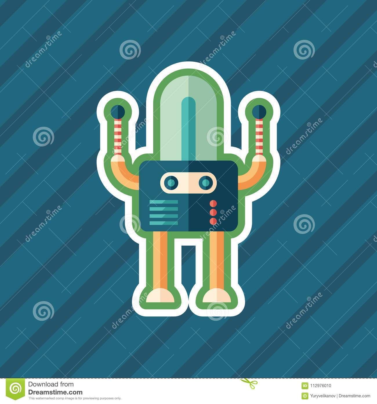 Guard robot sticker flat icon with color background.