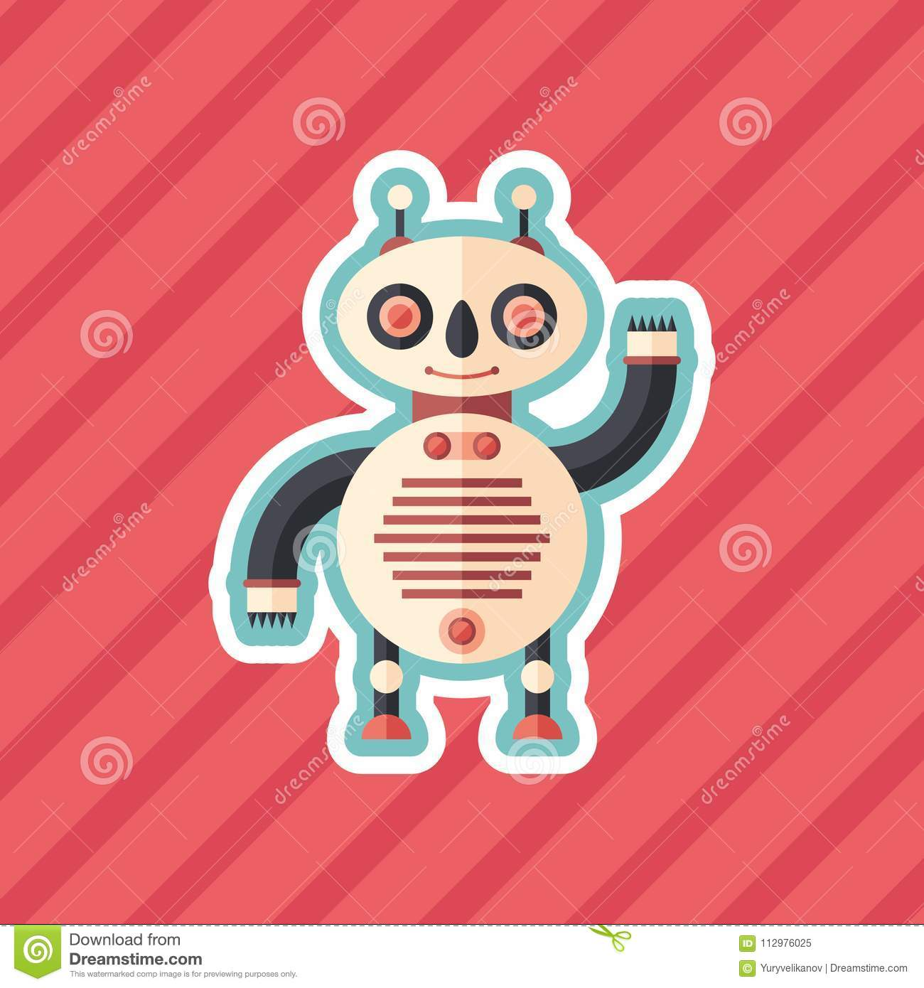 Panda robot sticker flat icon with color background.