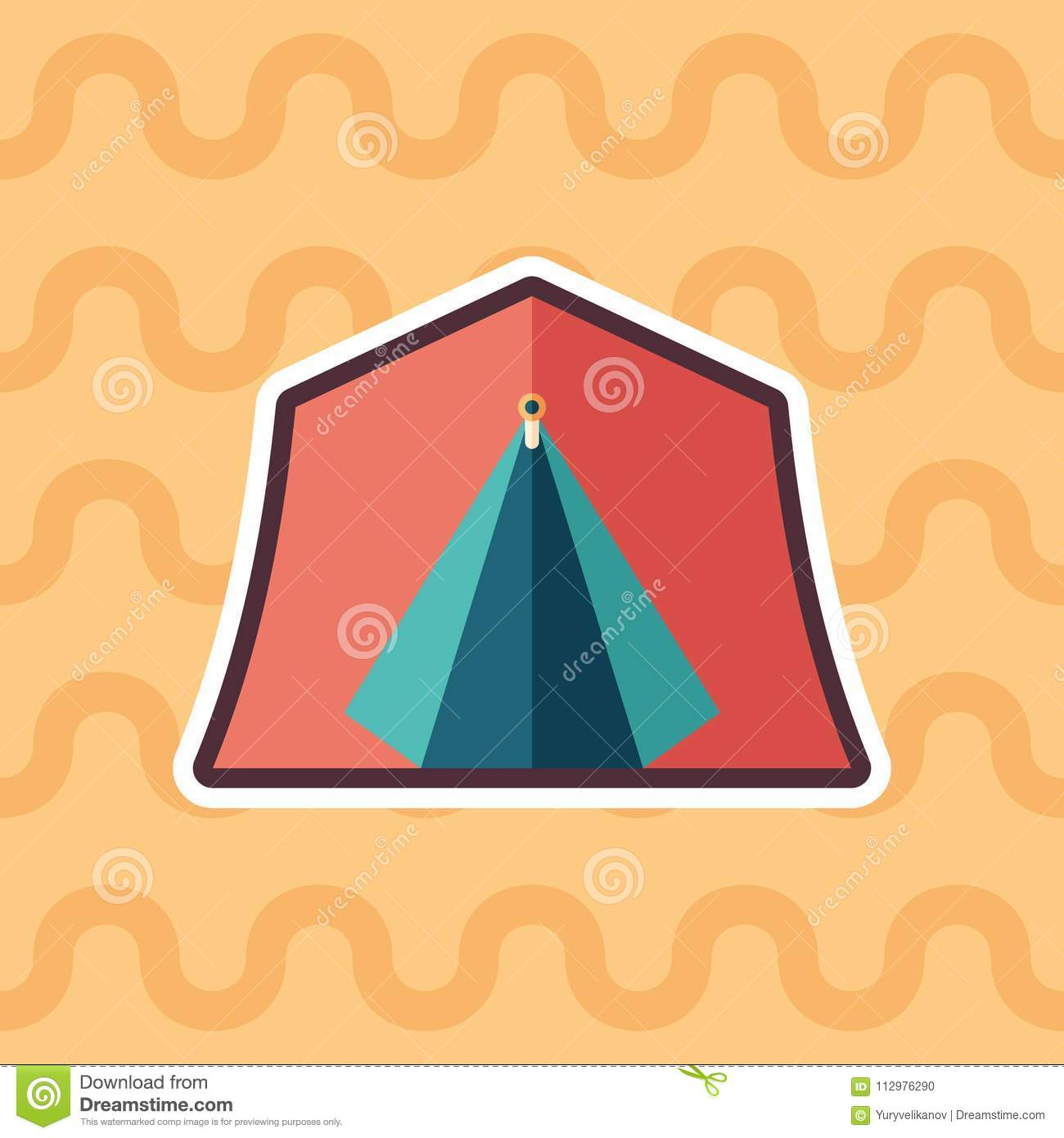 Red tourist tent sticker flat icon with color background.