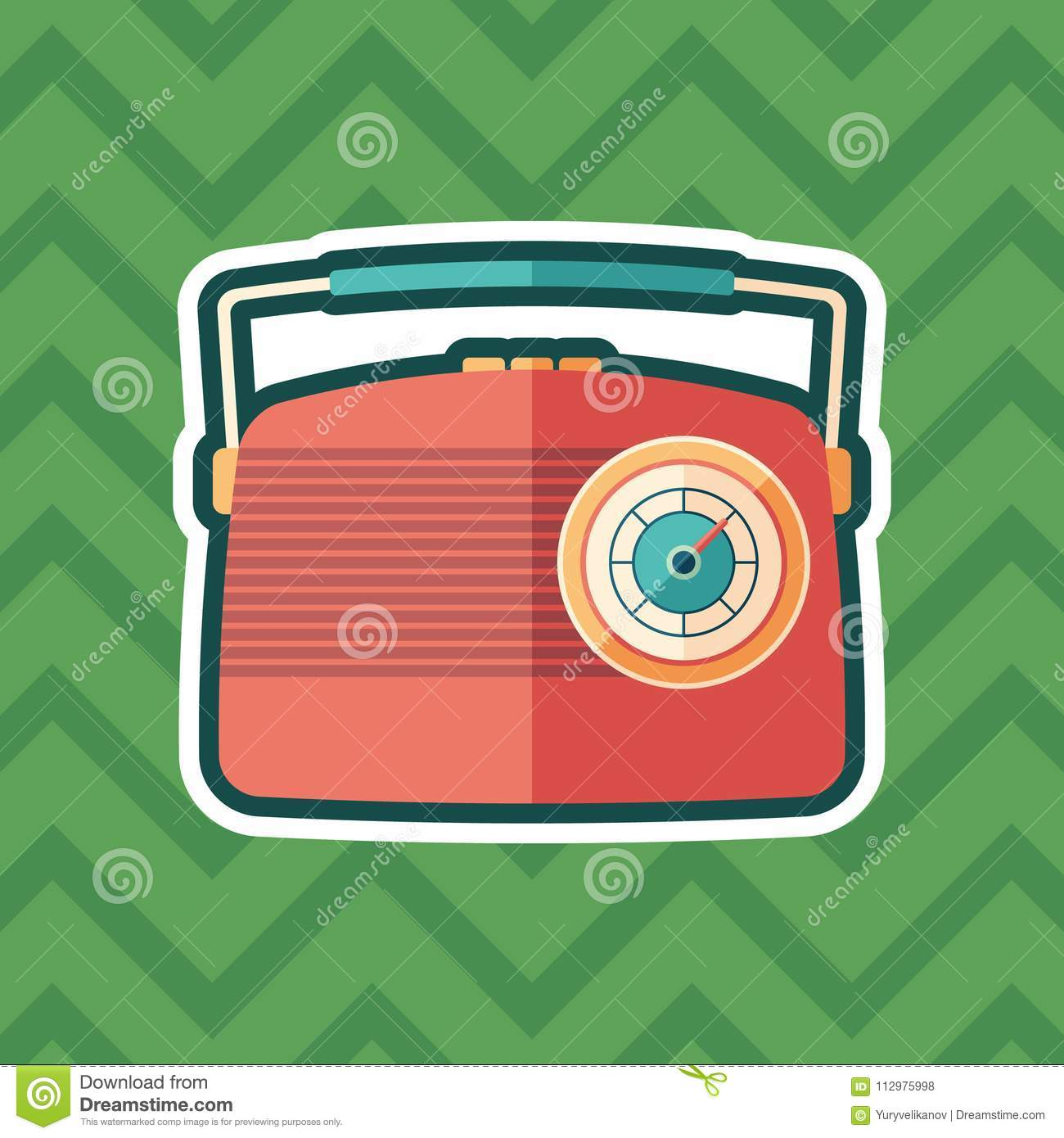 Red vintage radio sticker flat icon with color background.