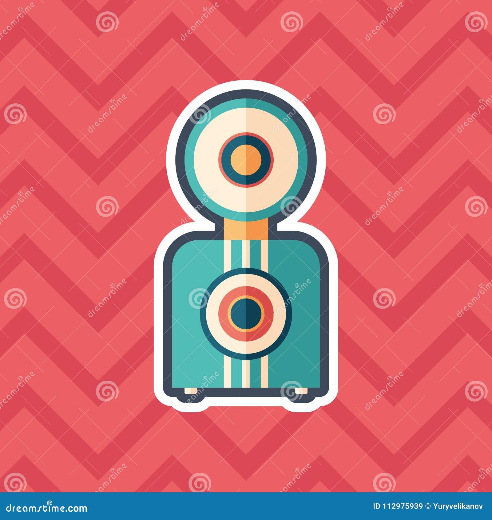 Retro camera sticker flat icon with color background.