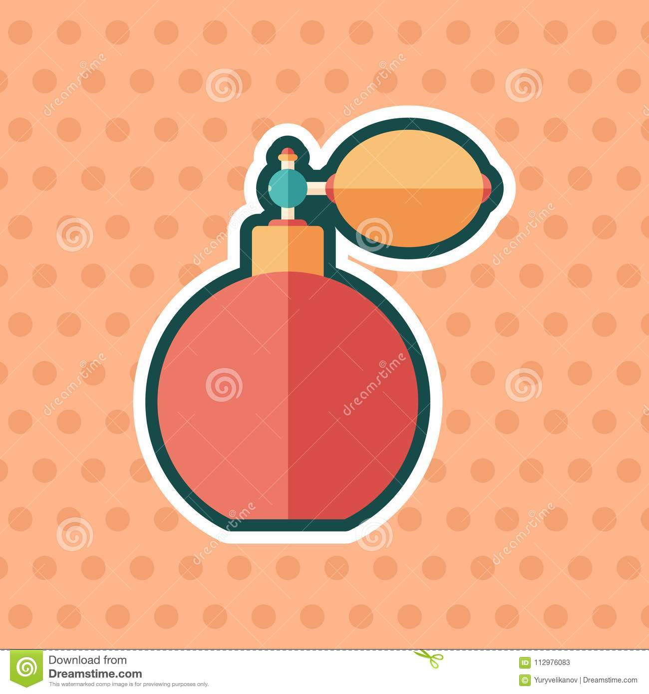Retro perfume bottle sticker flat icon with color background.