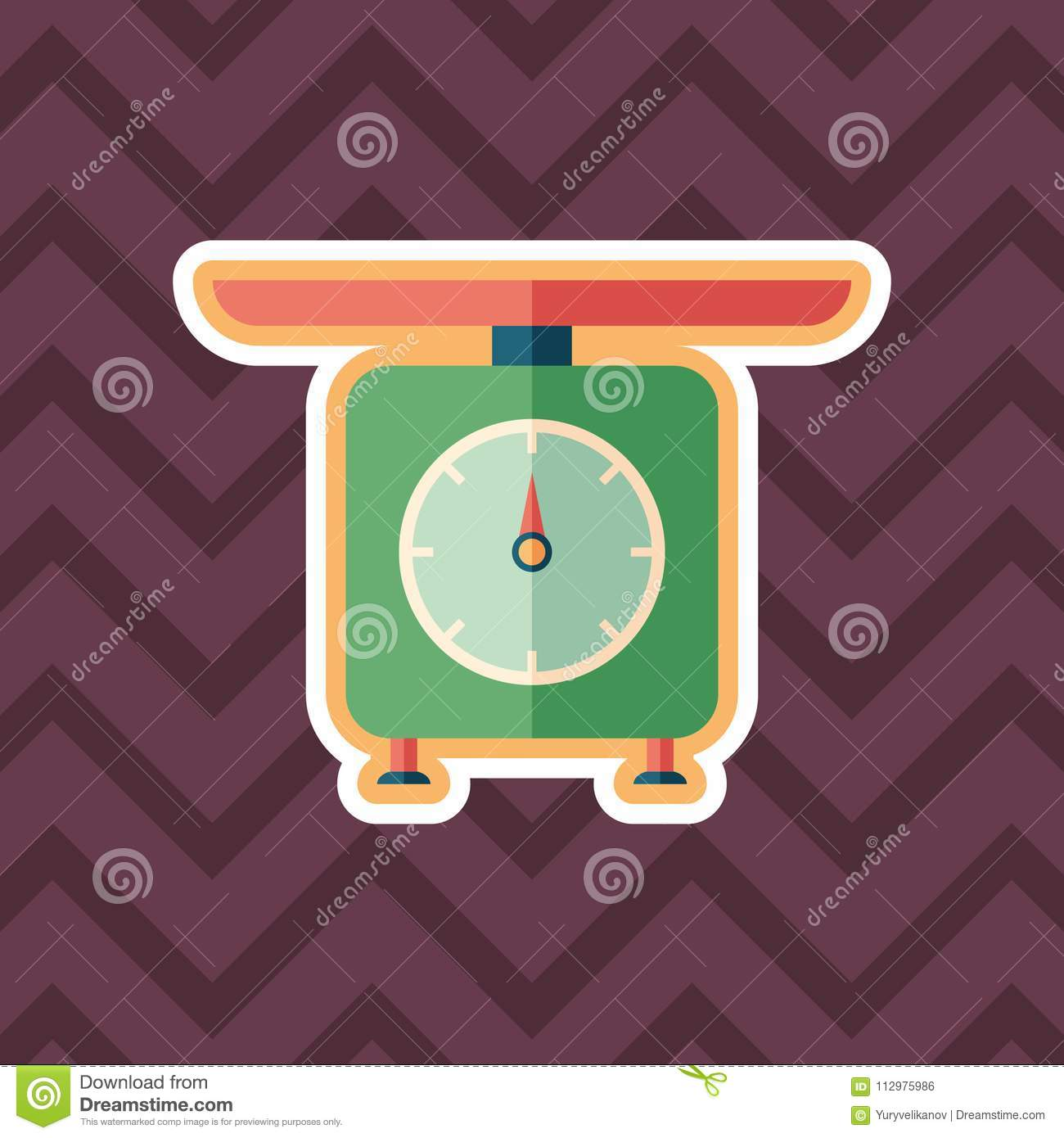 Retro scales sticker flat icon with color background.