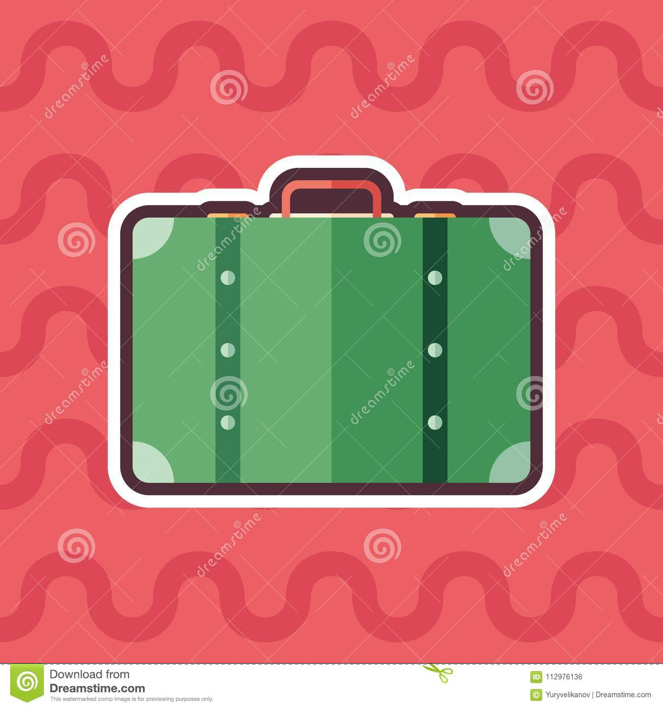 Retro suitcase sticker flat icon with color background.