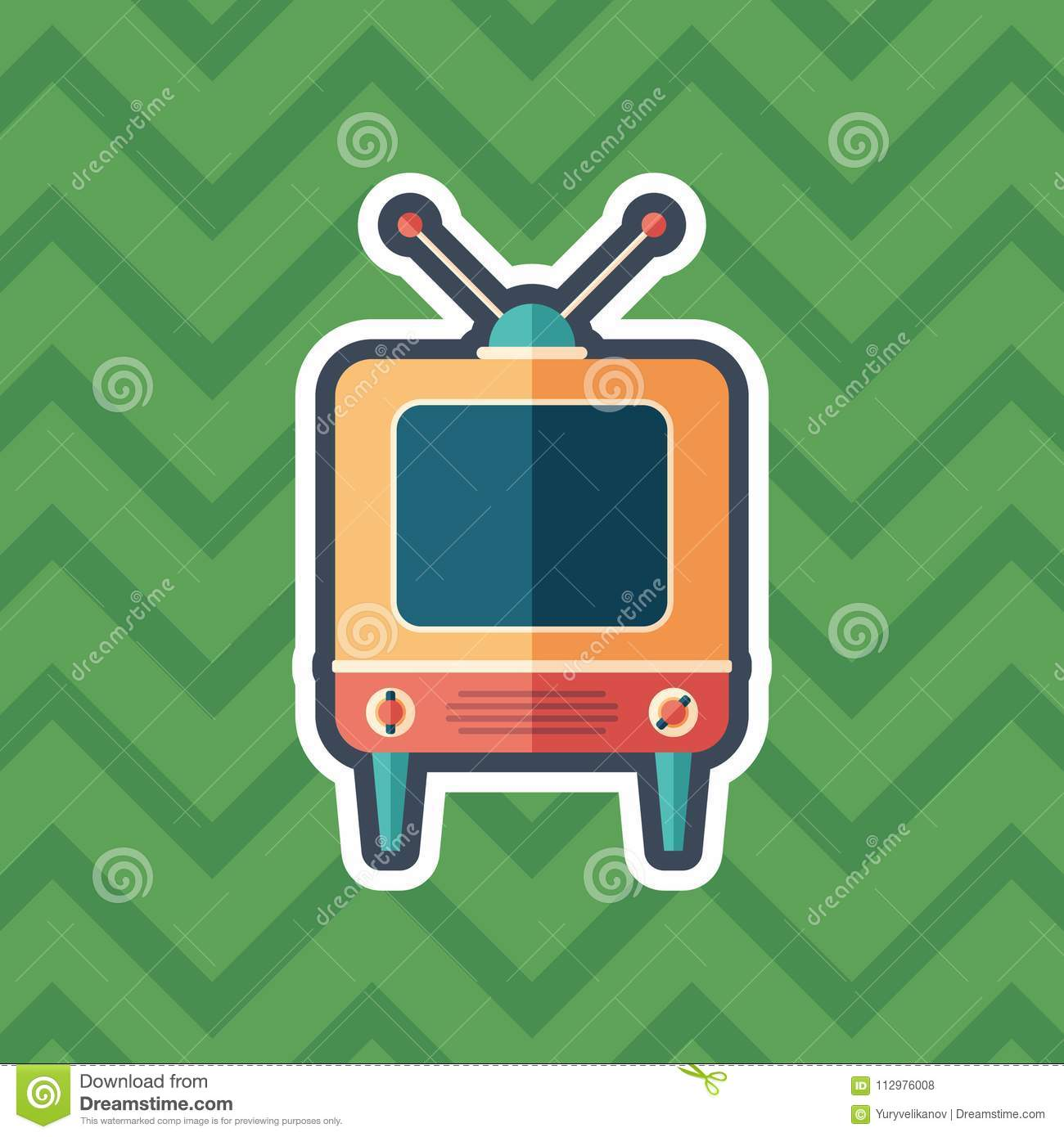 Retro television receiver sticker flat icon with color background.