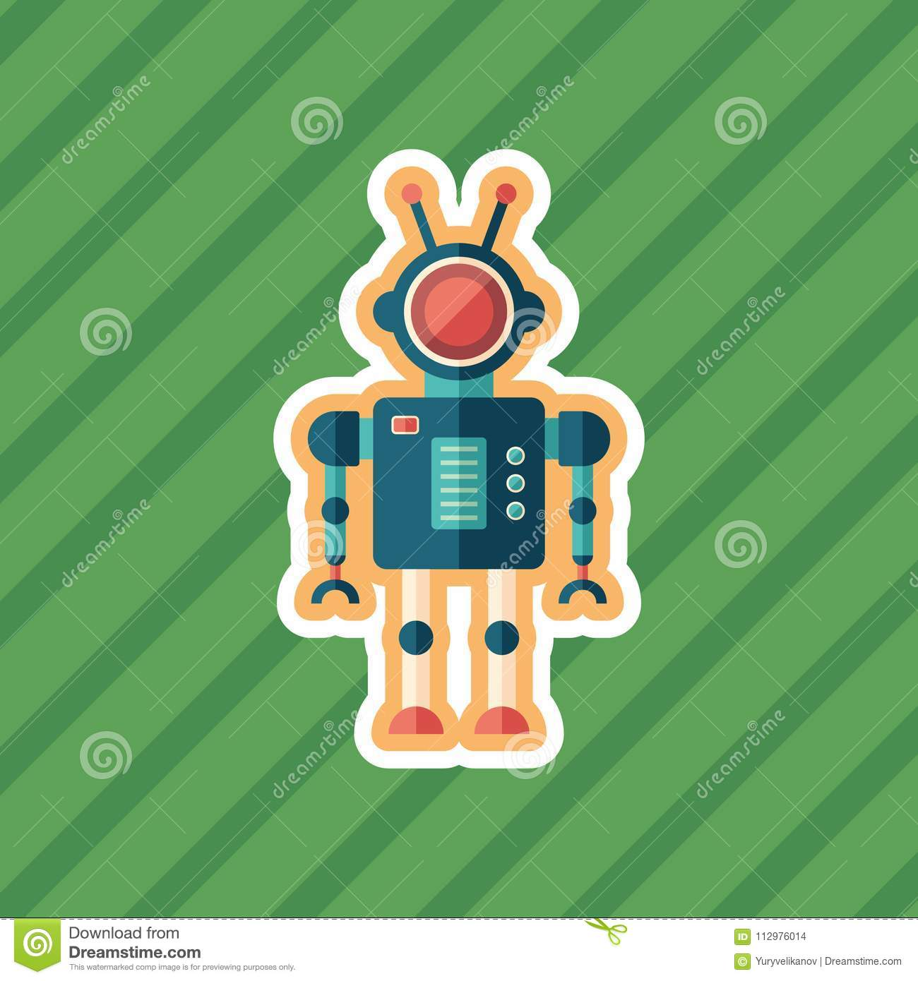 Robot administrator sticker flat icon with color background.
