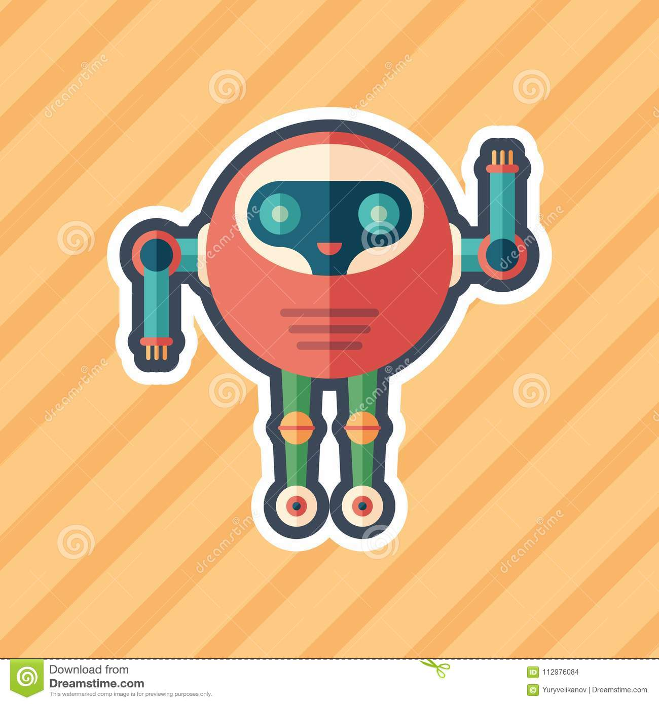 Robot astronaut sticker flat icon with color background.