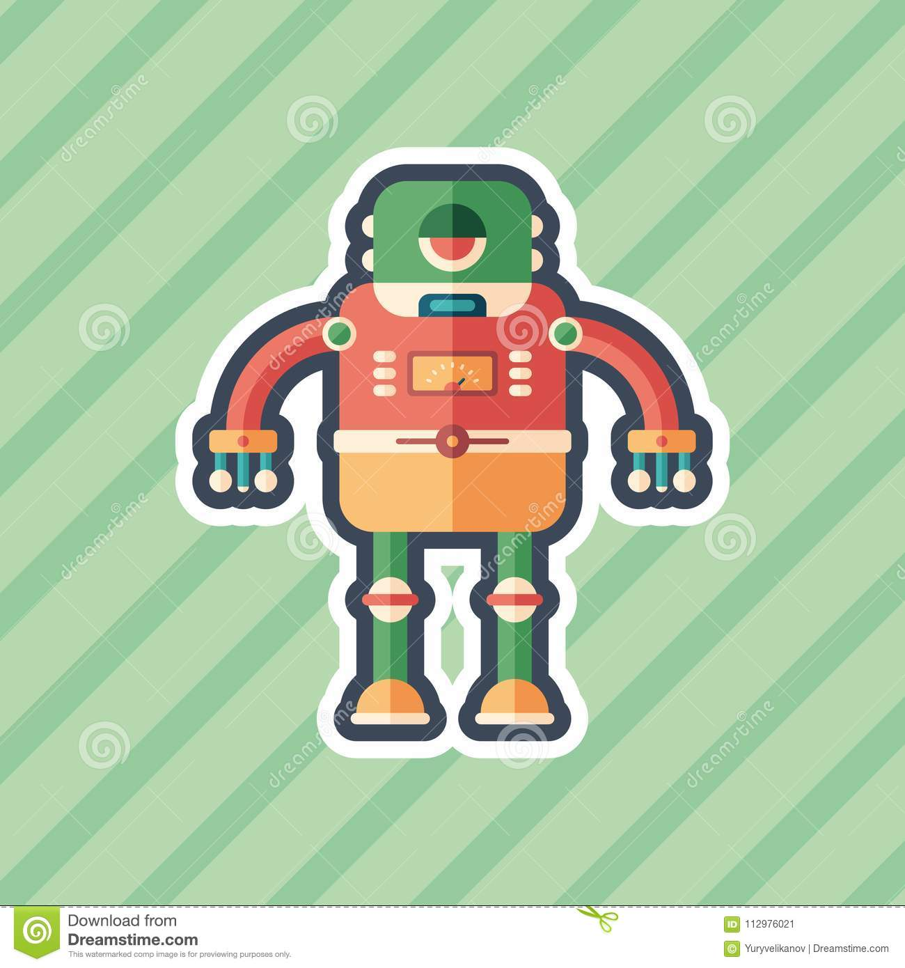 Robot frog sticker flat icon with color background.