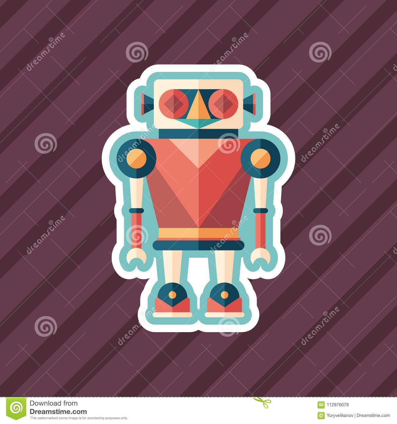 Robot illusionist sticker flat icon with color background.