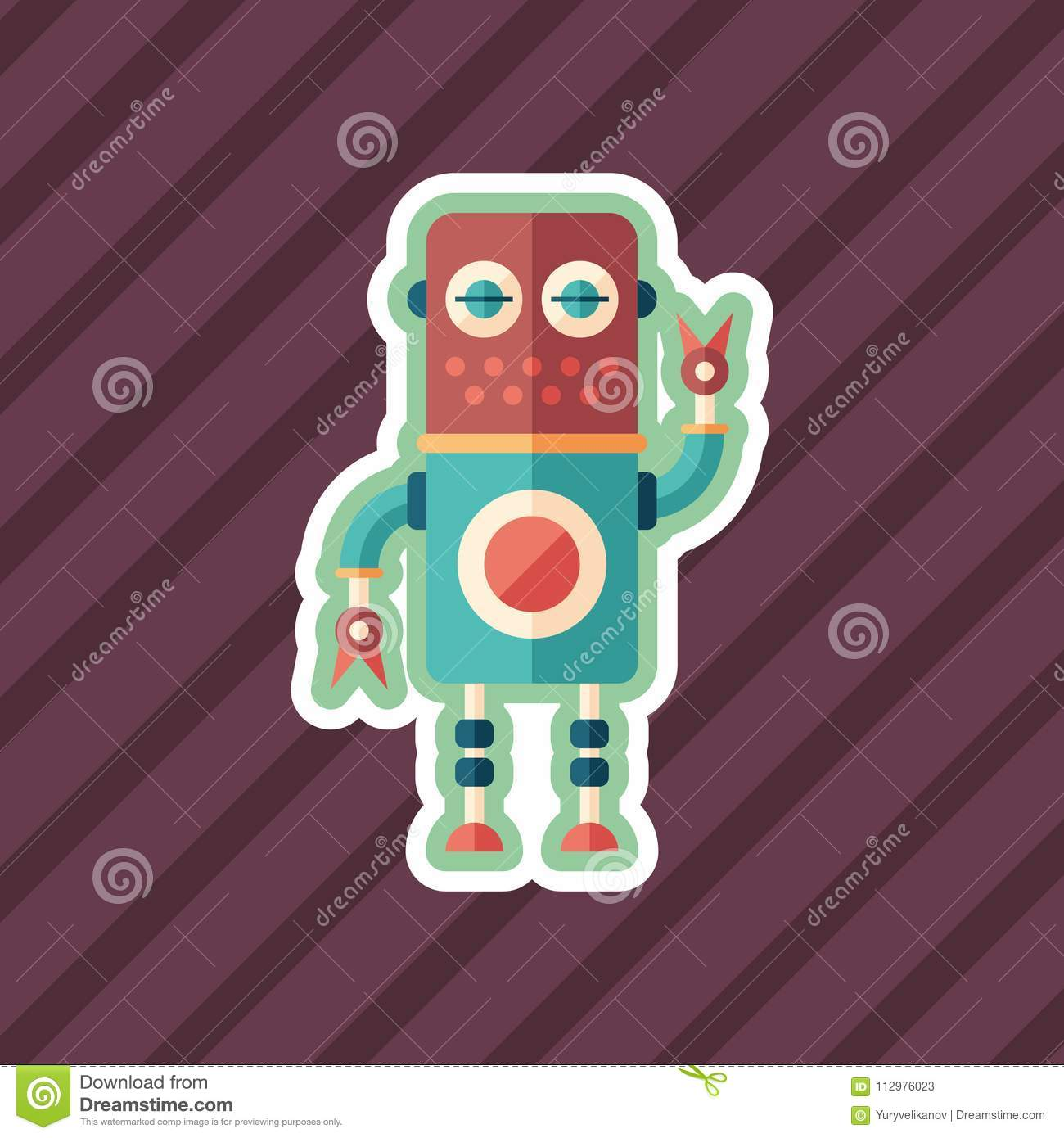 Robot mechanic sticker flat icon with color background.