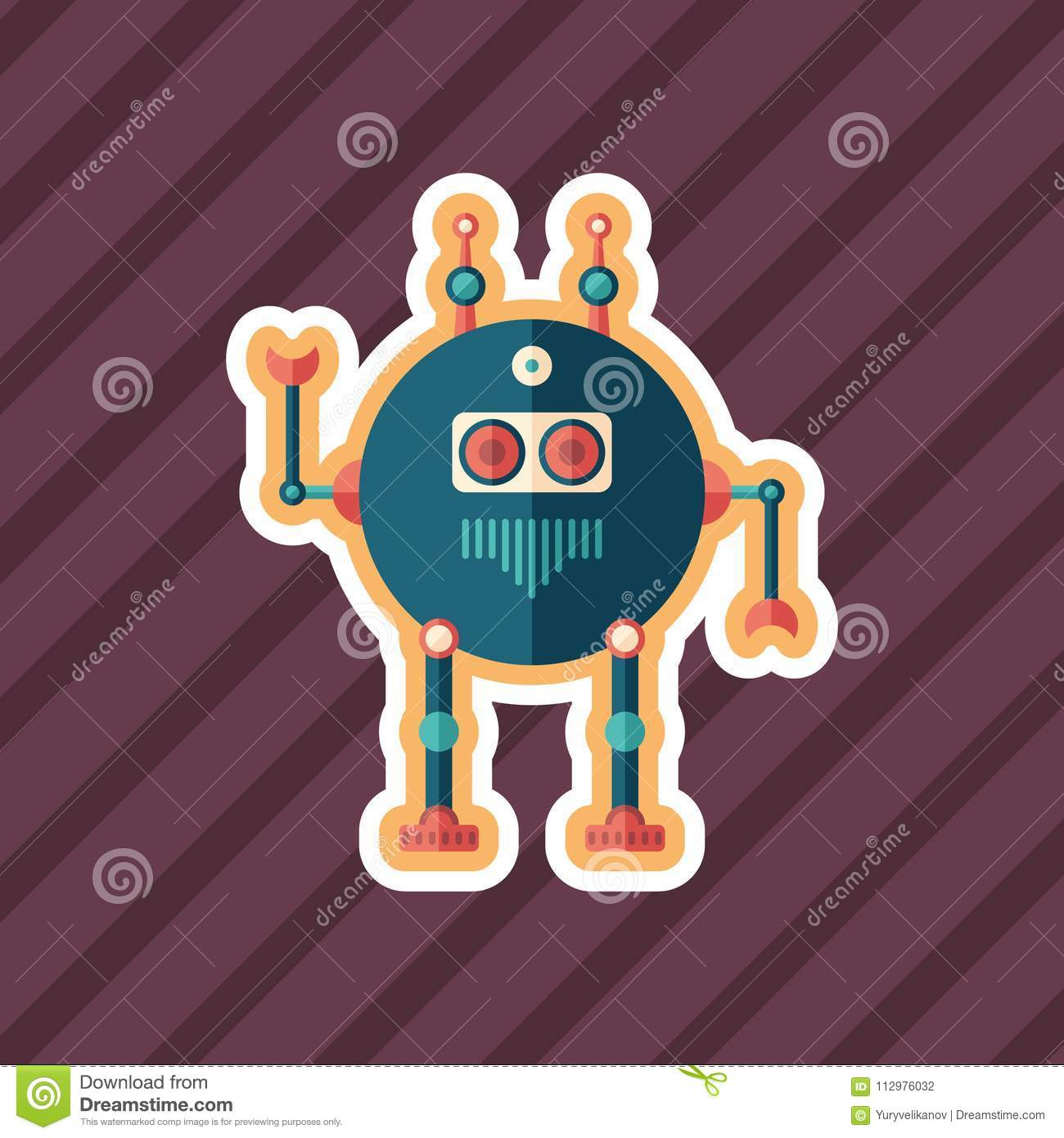 Robot scout sticker flat icon with color background.