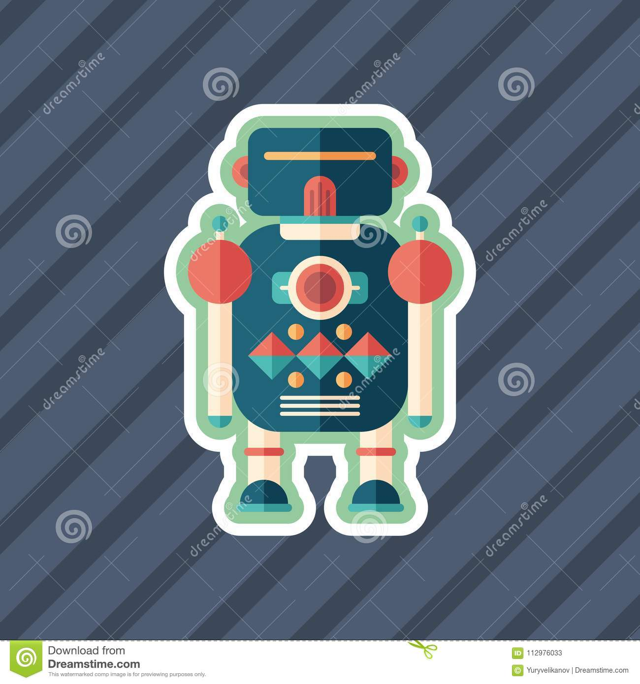 Robot soldier sticker flat icon with color background.