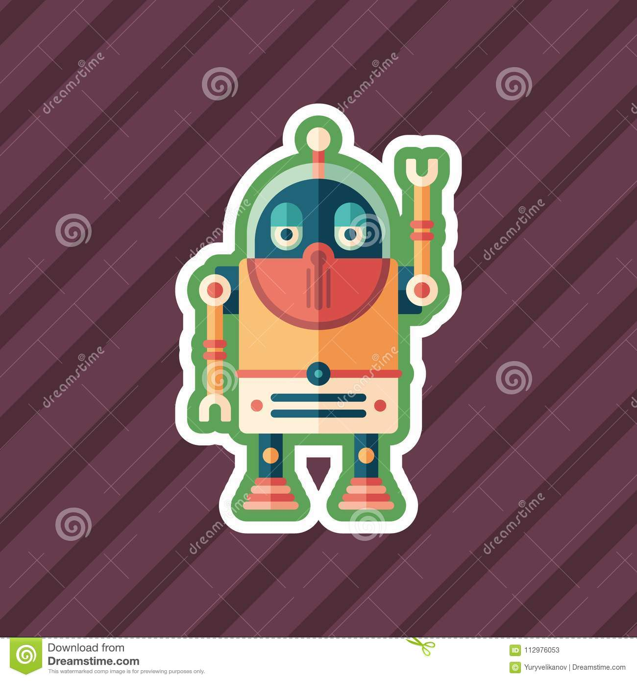 Robot tourist sticker flat icon with color background.