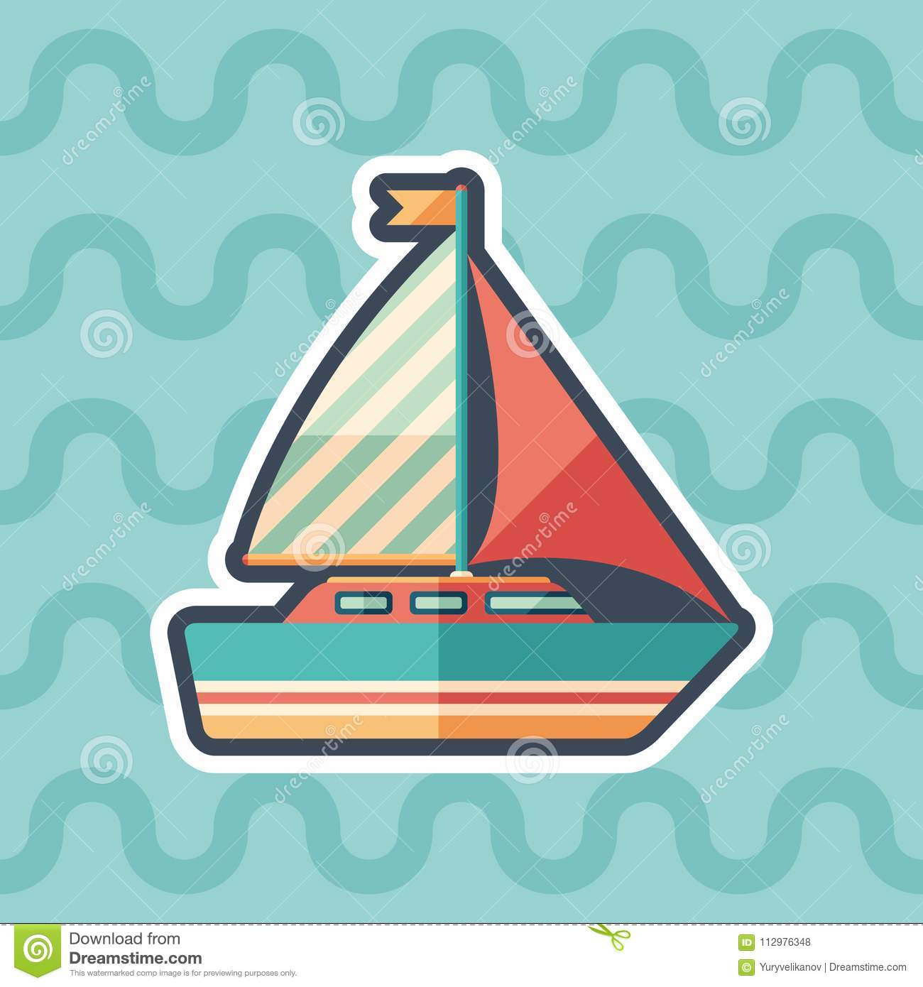 Sailing yacht sticker flat icon with color background.