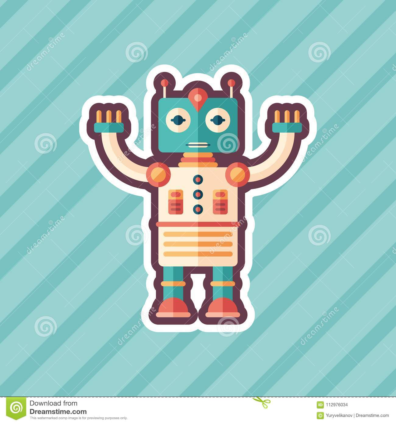 Space captain robot sticker flat icon with color background.