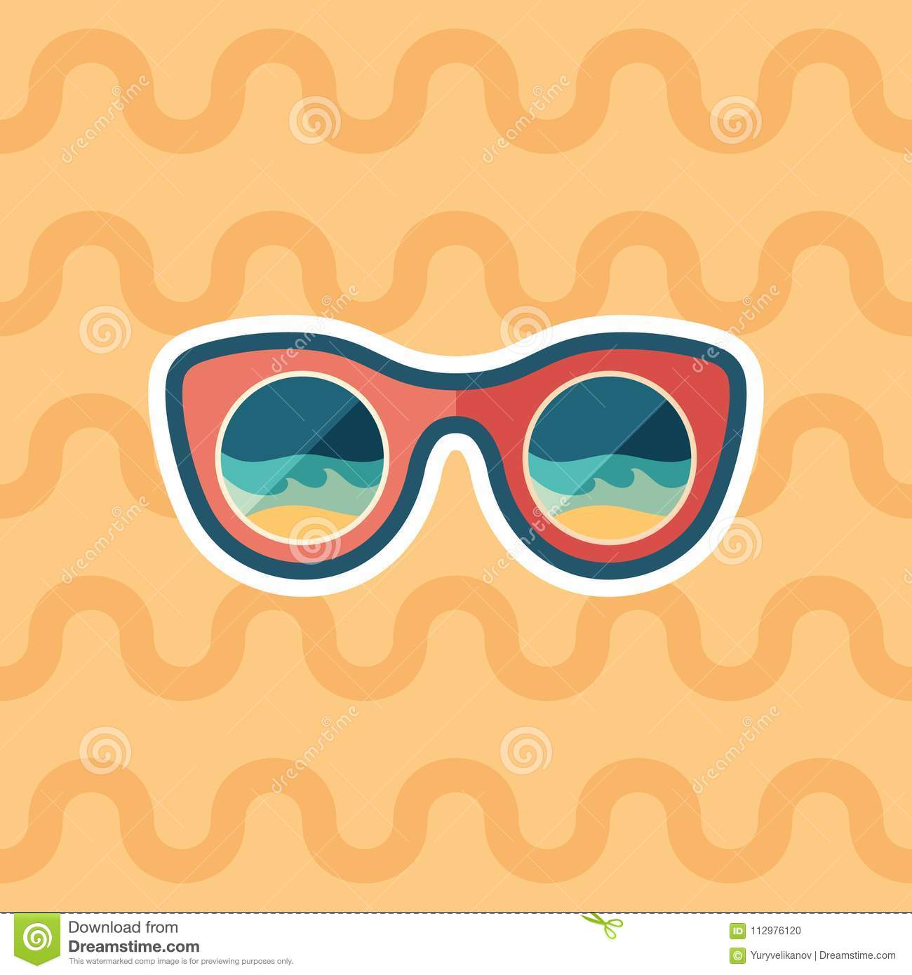 Sunglasses beach reflection sticker flat icon with color background.