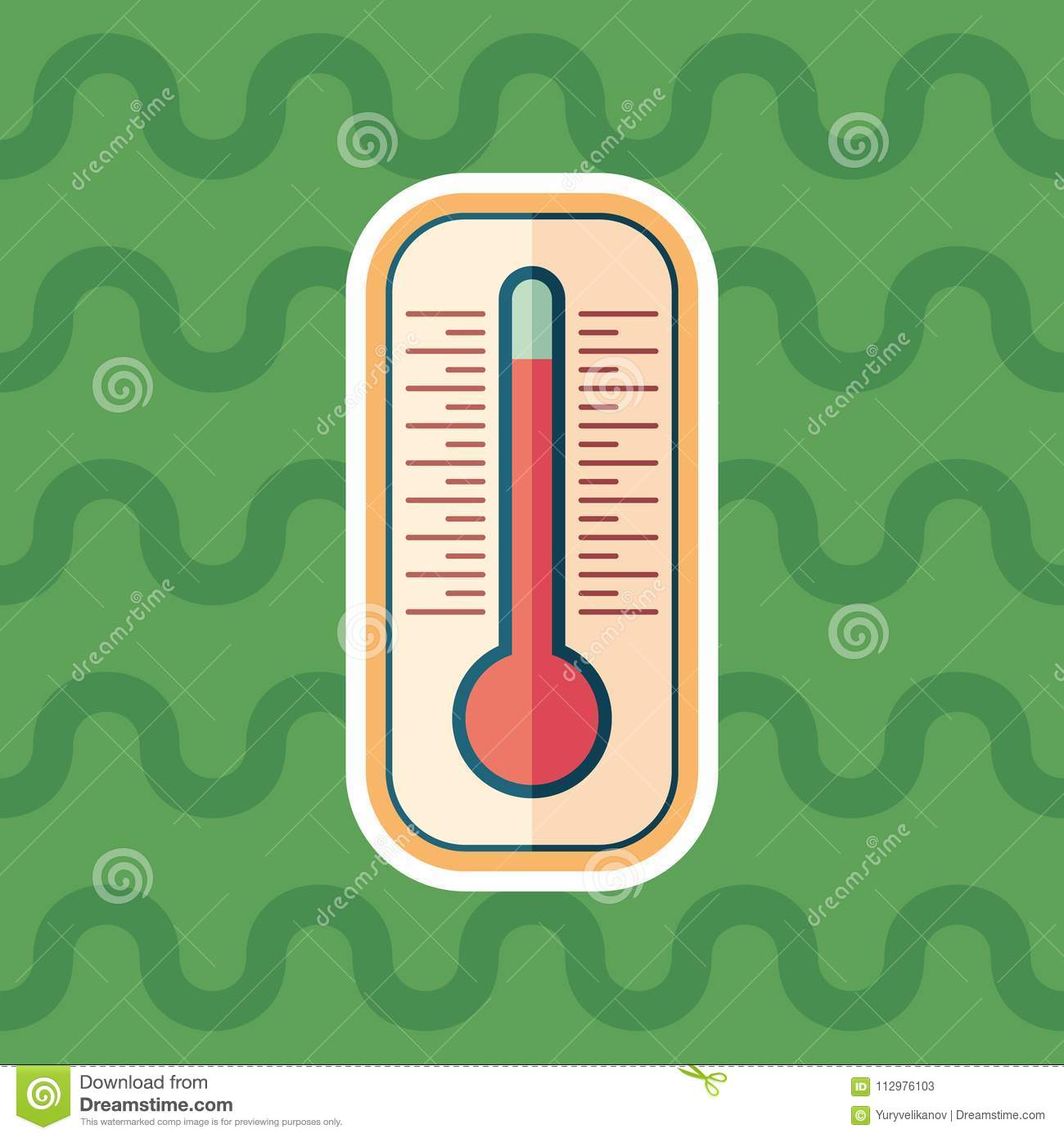 Thermometer sticker flat icon with color background.