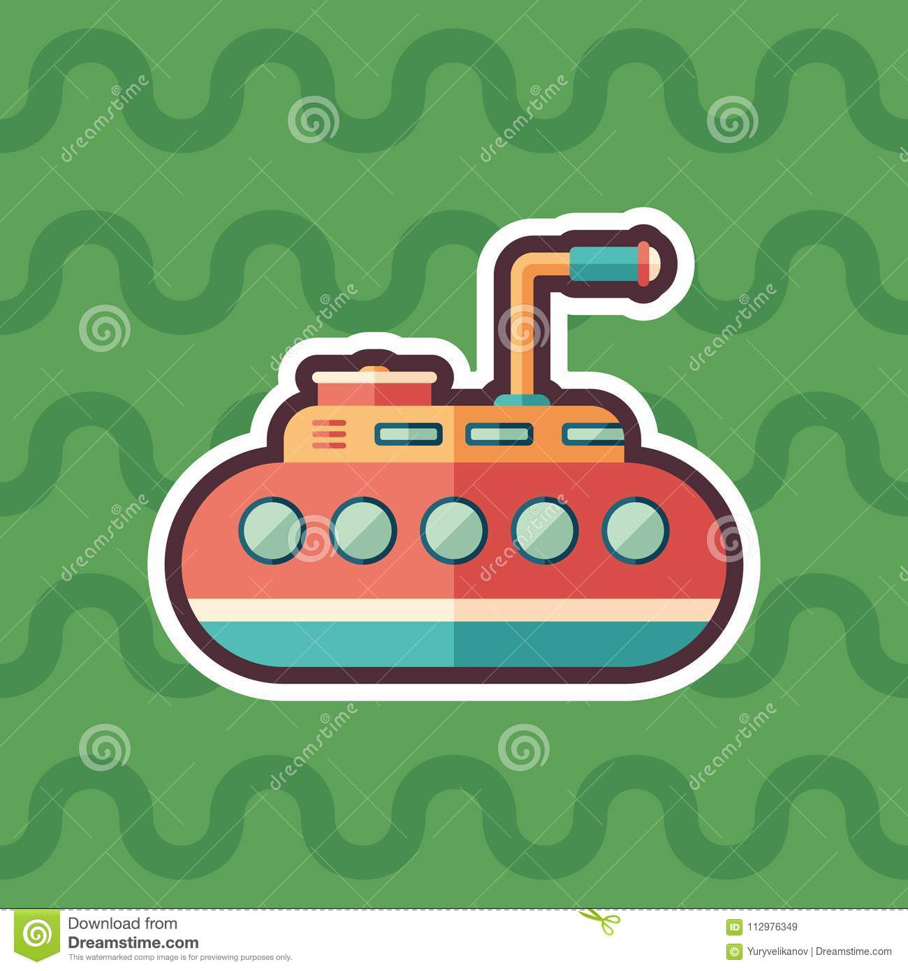 Tourist submarine sticker flat icon with color background.
