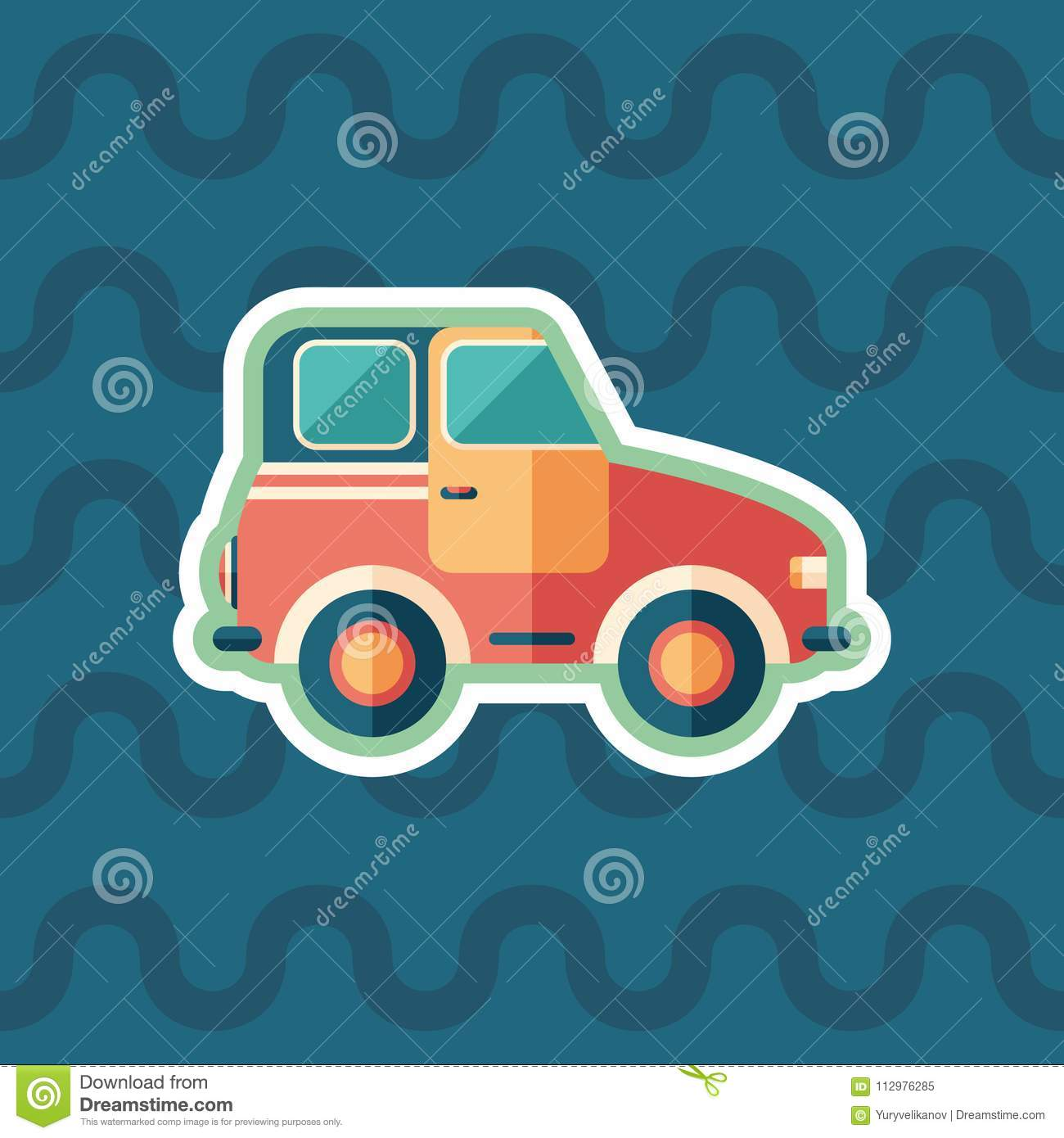 Toy Retro Car Sticker Flat Icon With Color Background Stock