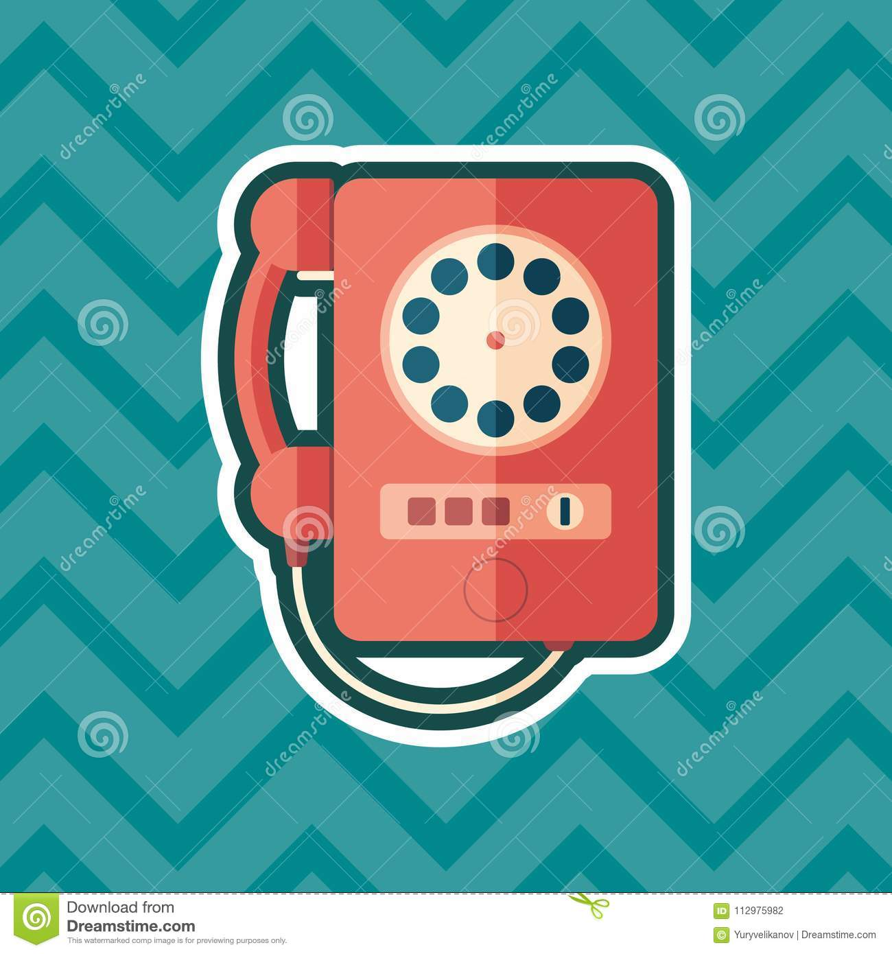 Vintage red telephone sticker flat icon with color background.