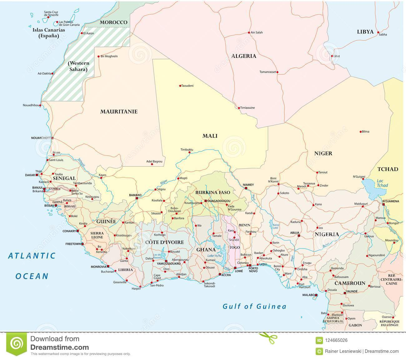 Countries Of West Africa Map.Detailed Road Map Of The Countries Of West Africa With