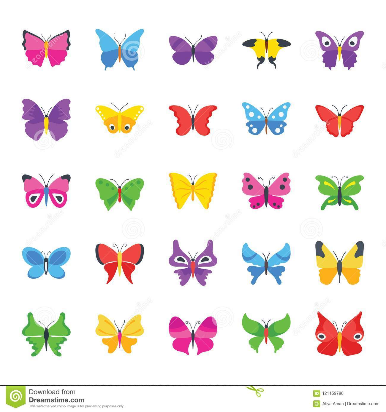 butterfly common species flat icons stock vector illustration of