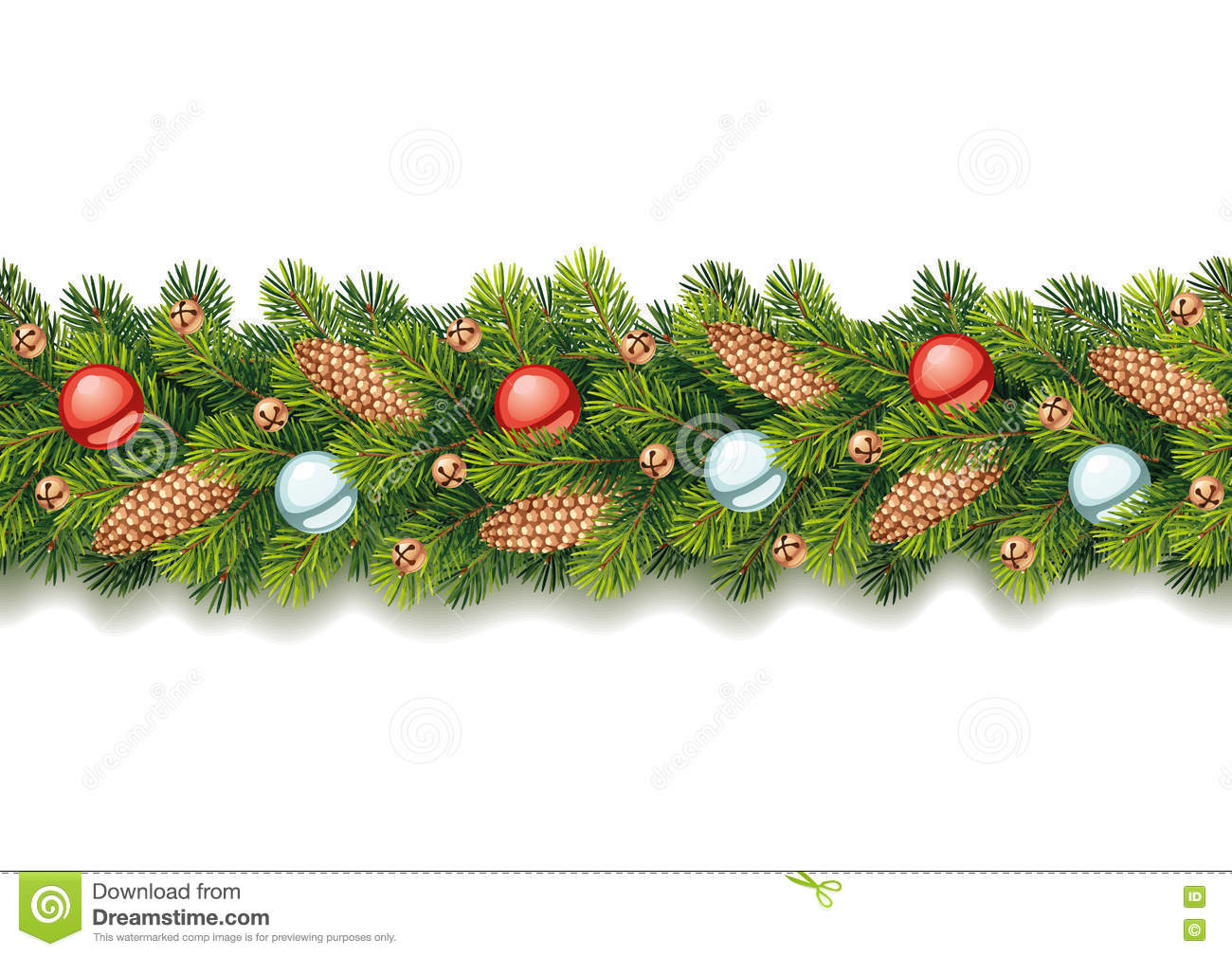 Detailed Seamless Christmas Garland Stock Vector Illustration Of