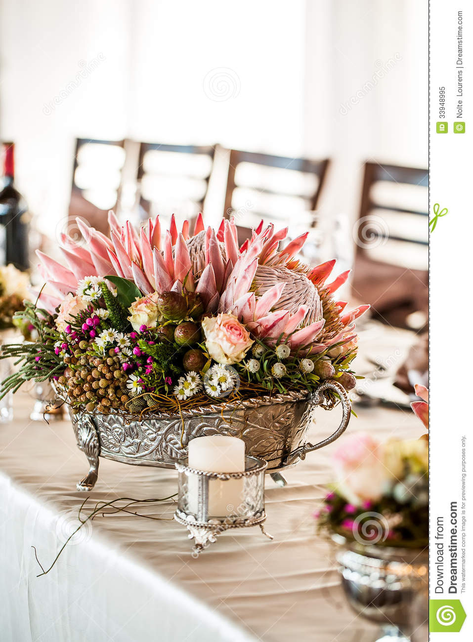 Detailed Silver Centerpiece Royalty Free Stock Photo
