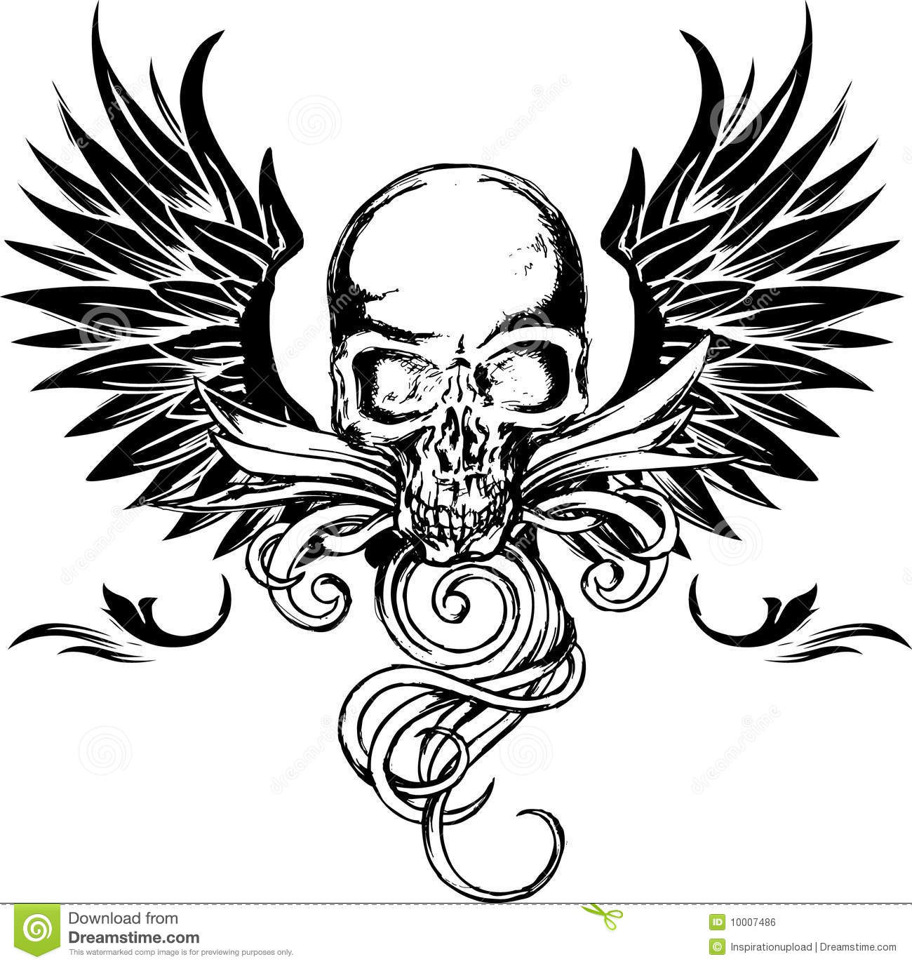 Detailed Skull With Wings Royalty Free Stock Image