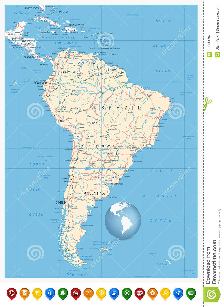 Detailed South America Map And Location Pin Icons Stock Vector