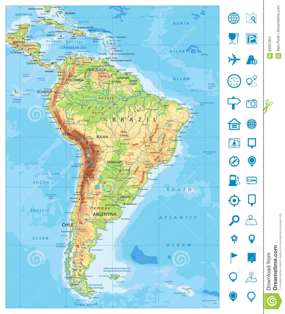 Bolivia physical map