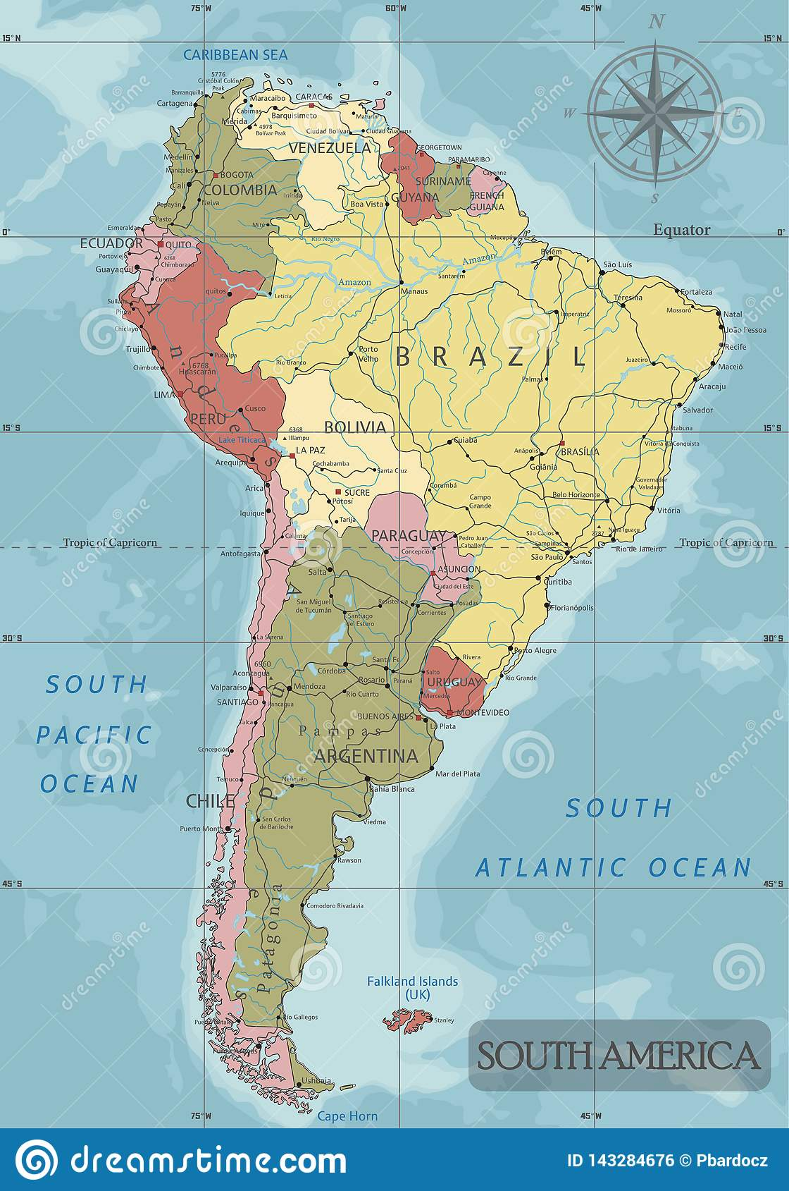 Detailed South America Political Map In Mercator Projection. Clearly ...