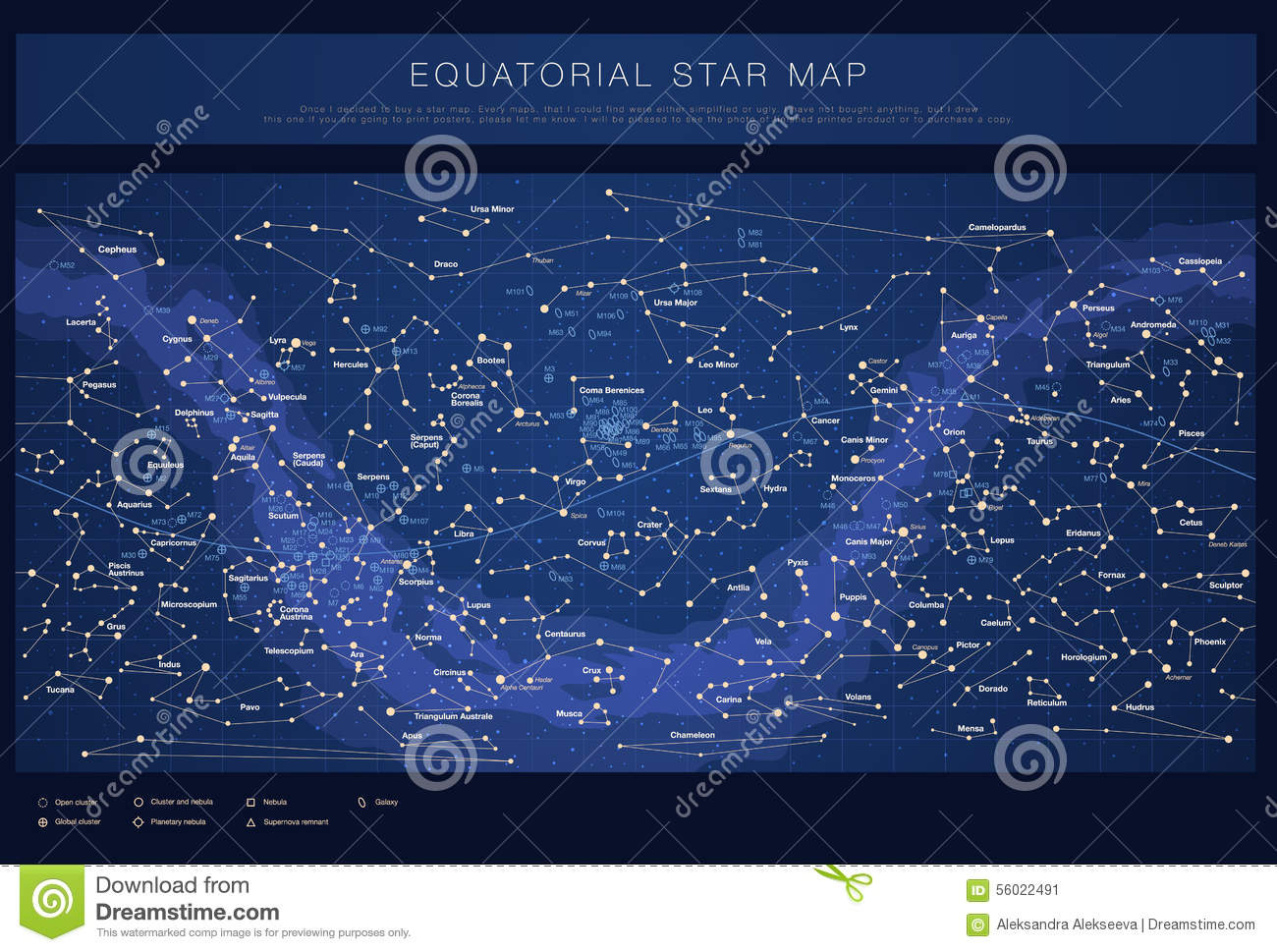 Detailed Star Map With Names Of Stars Stock Vector Image