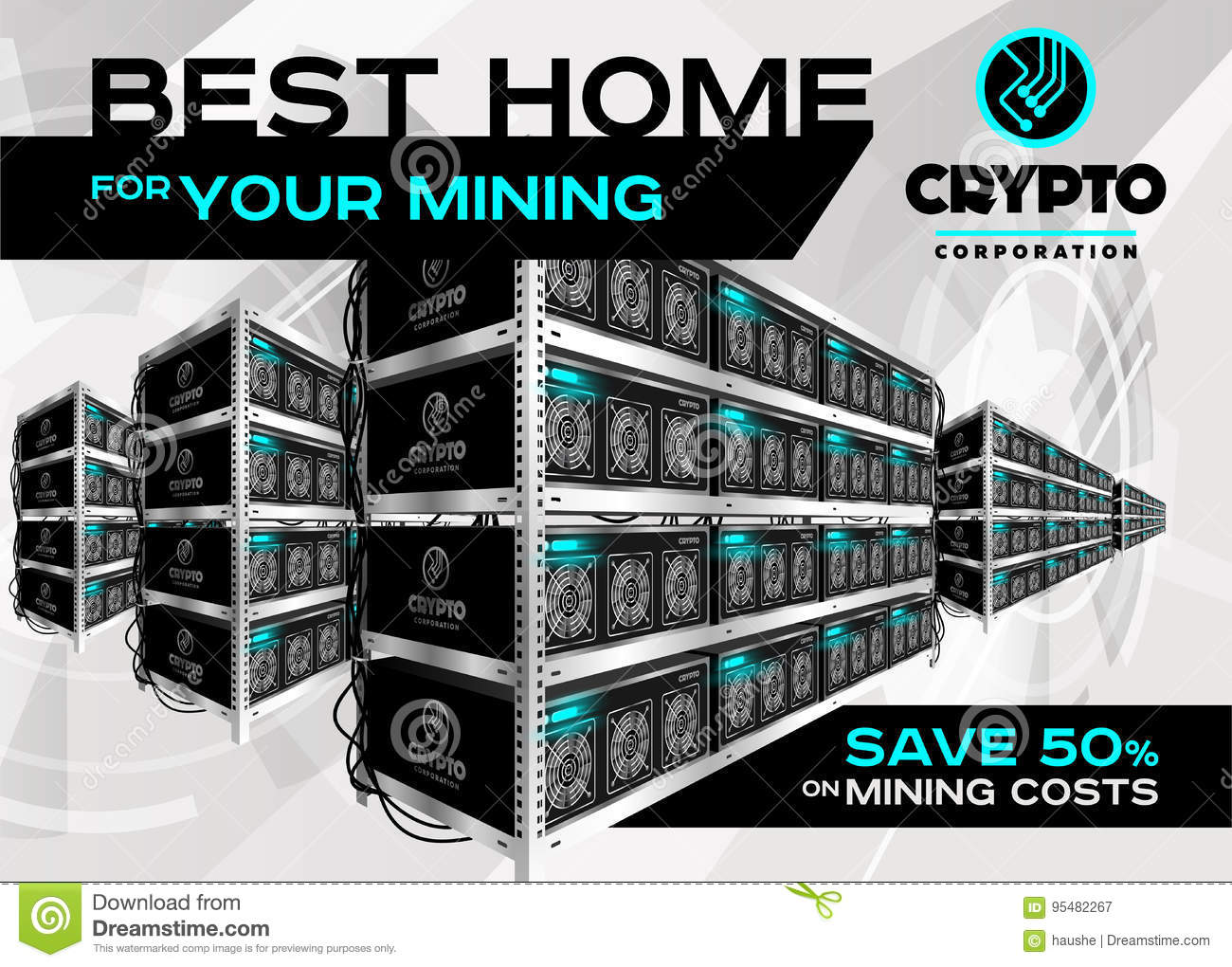 Detailed Vector Illustration Of Bitcoin Mining Farm In ...