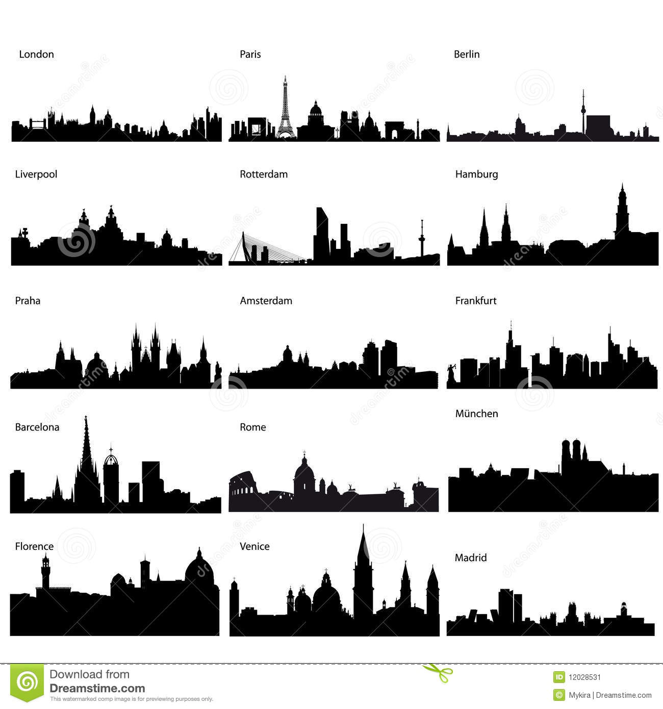 Download Detailed Vector Silhouettes Of European Cities Stock Vector - Illustration of amsterdam, nchen: 12028531