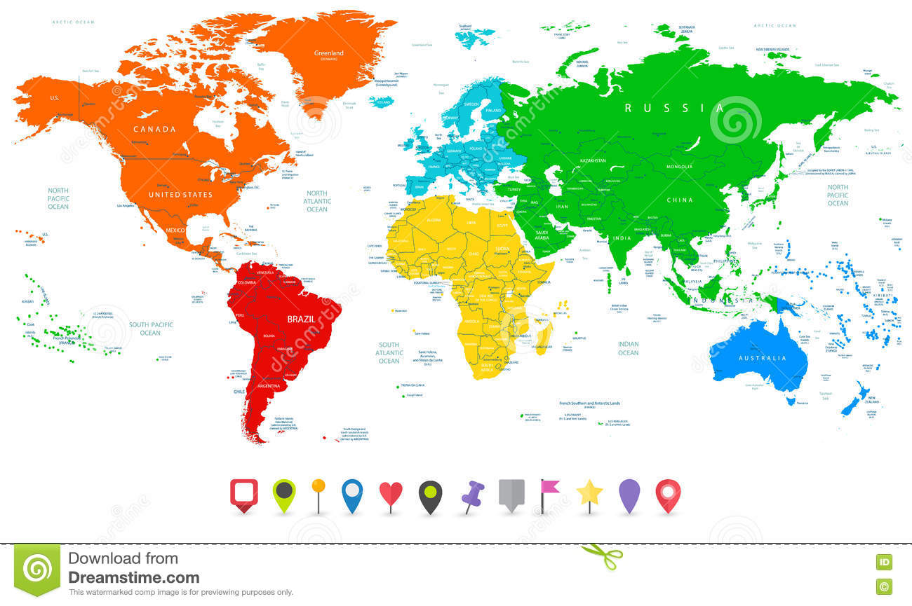 Detailed Vector World Map With Colorful Continents And Flat Map - Map of the world detailed