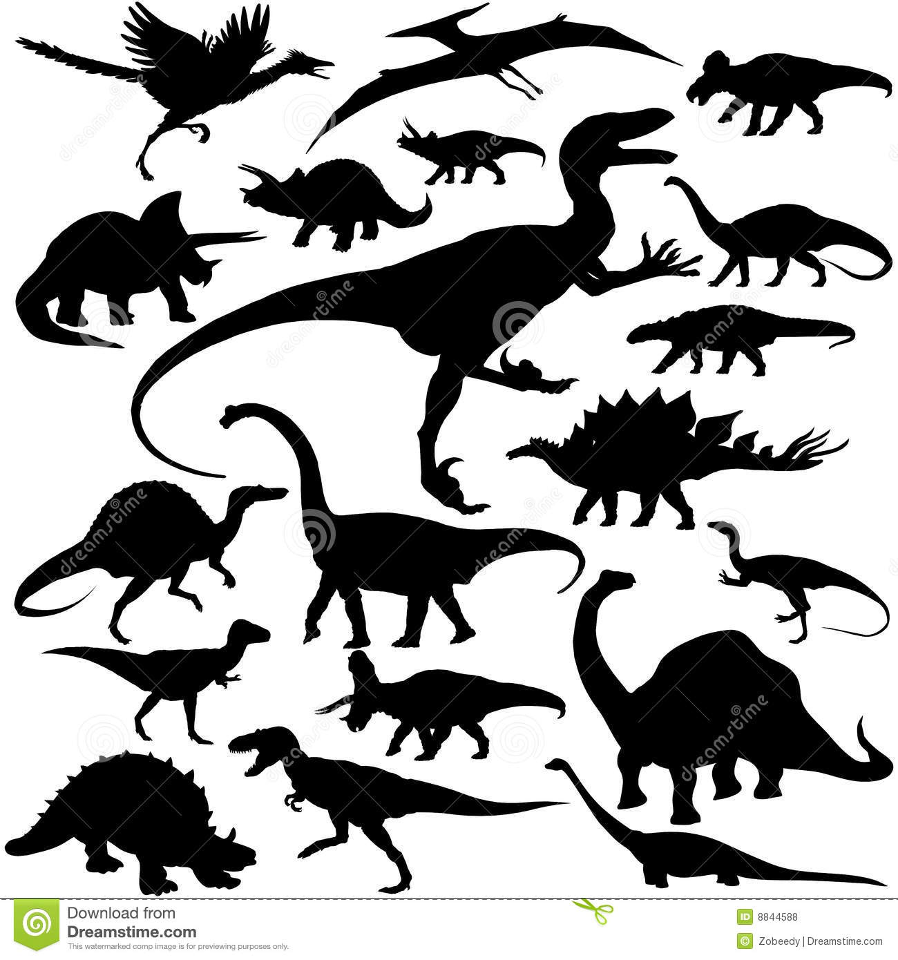 Detailed Vectoral Dinosaur Silhouettes