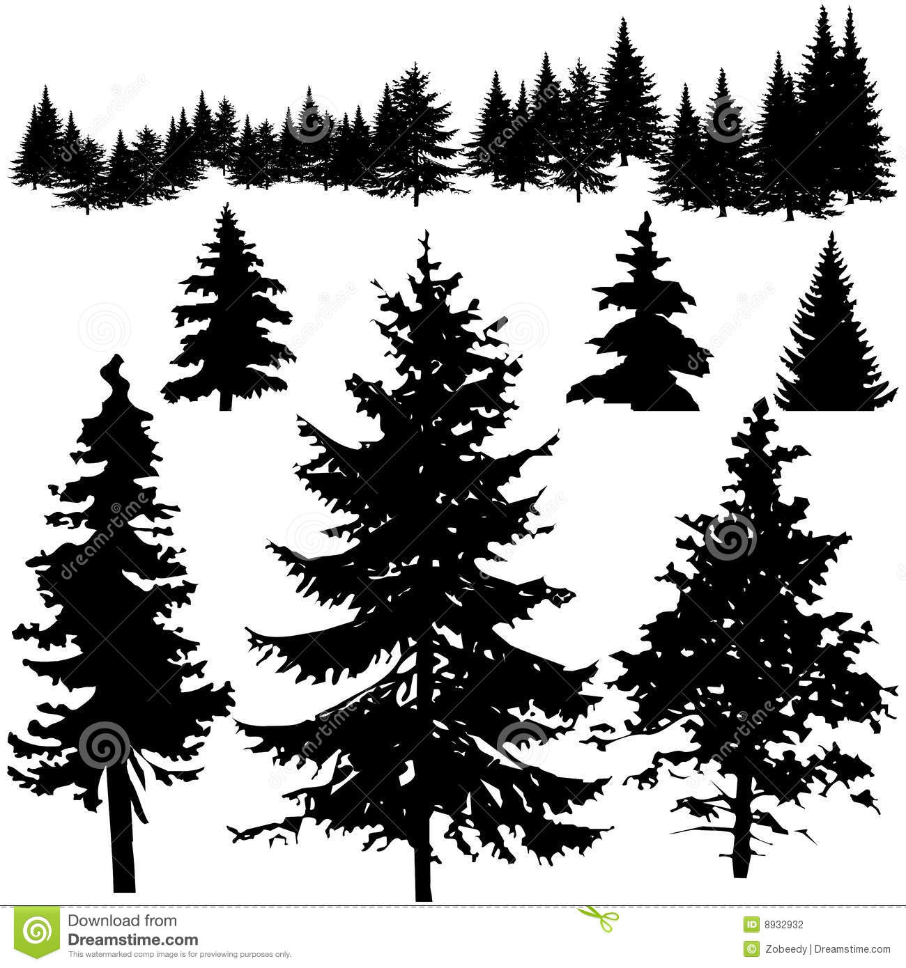 Detailed Vectoral Pine Tree Sillhouettes Stock Vector ...