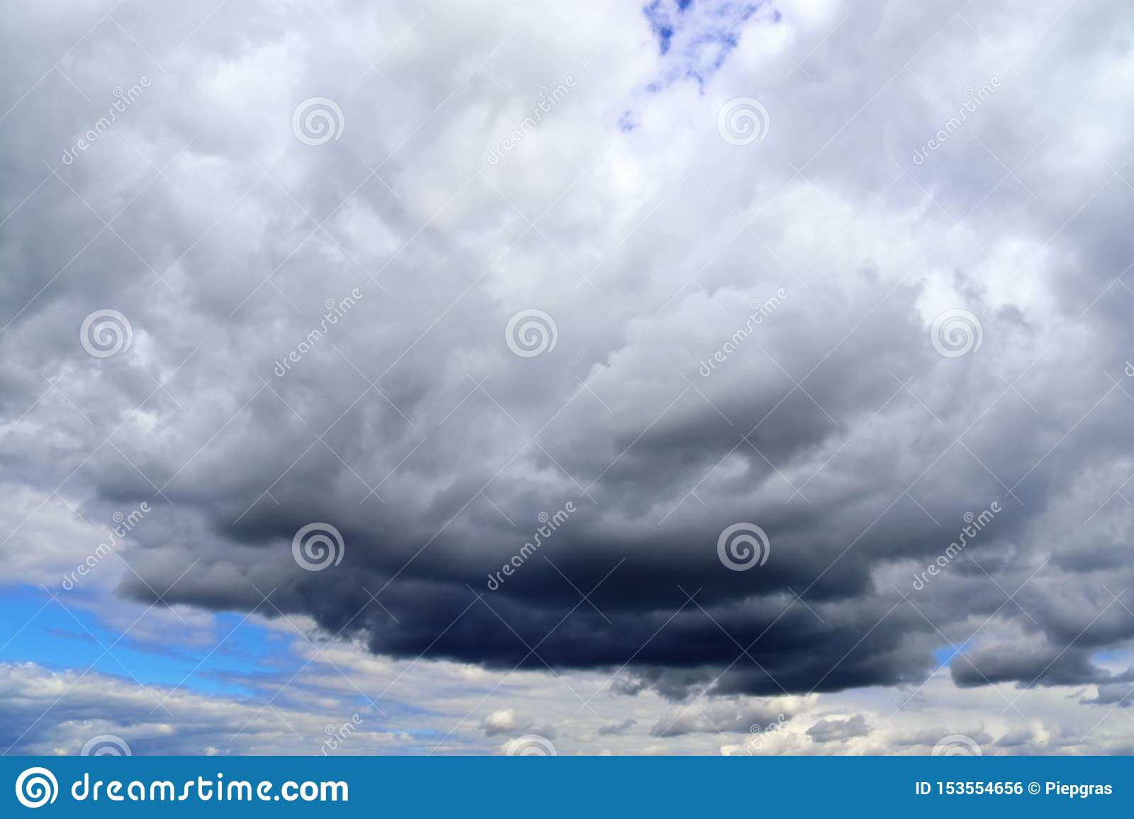 Detailed view on dark clouds forming before a storm