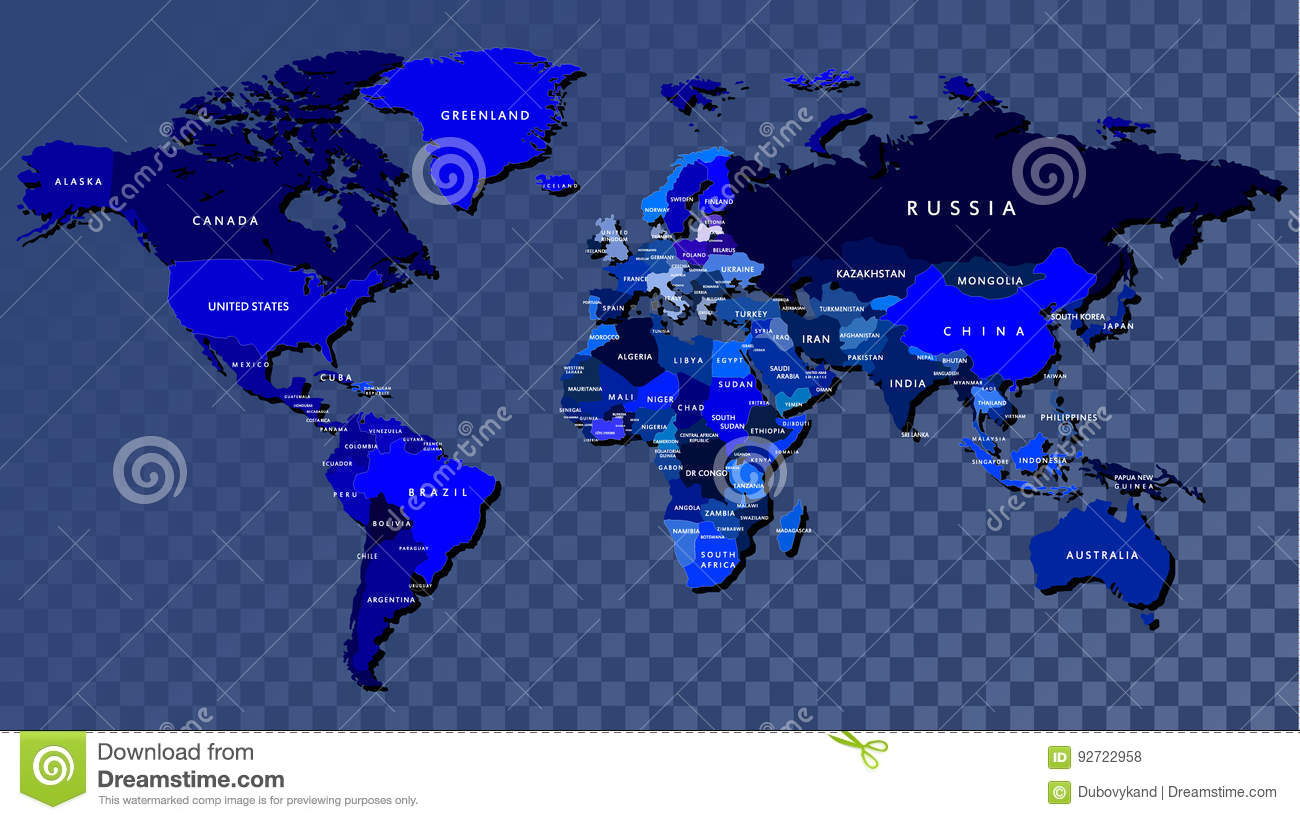 Detailed World Map In Blue Color Engraved Stock Illustration - World map in blue color