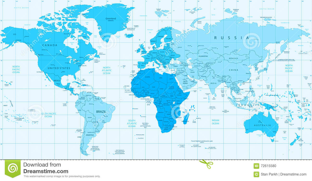 Detailed World Map Blue Colors Isolated On White Stock ...
